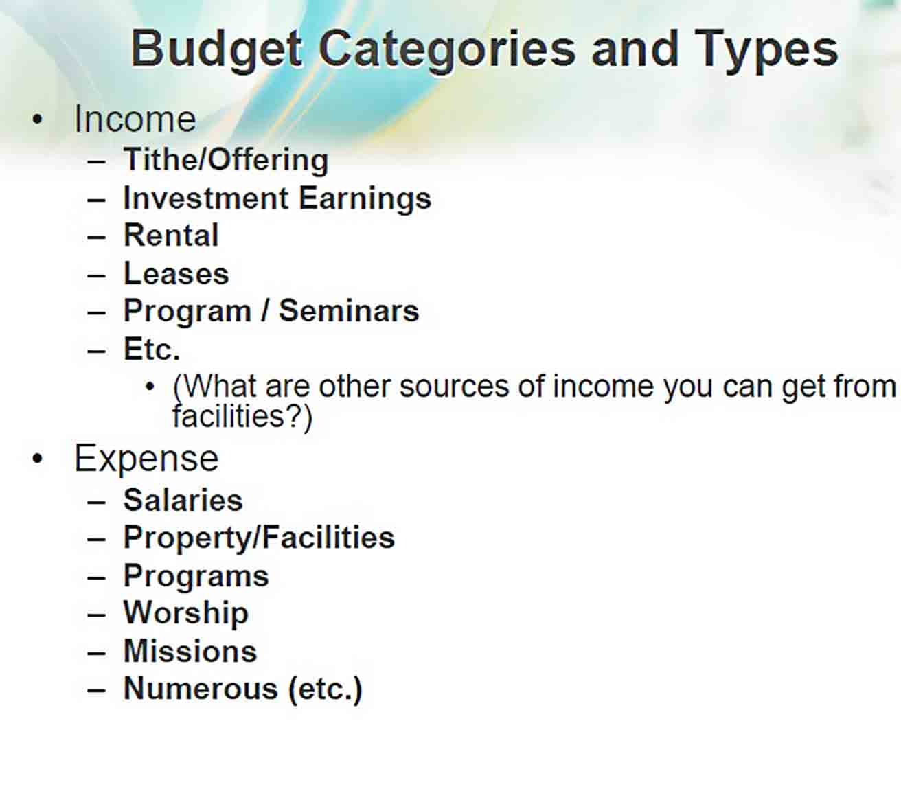 Small Church Budget Example PDF Free Download sample