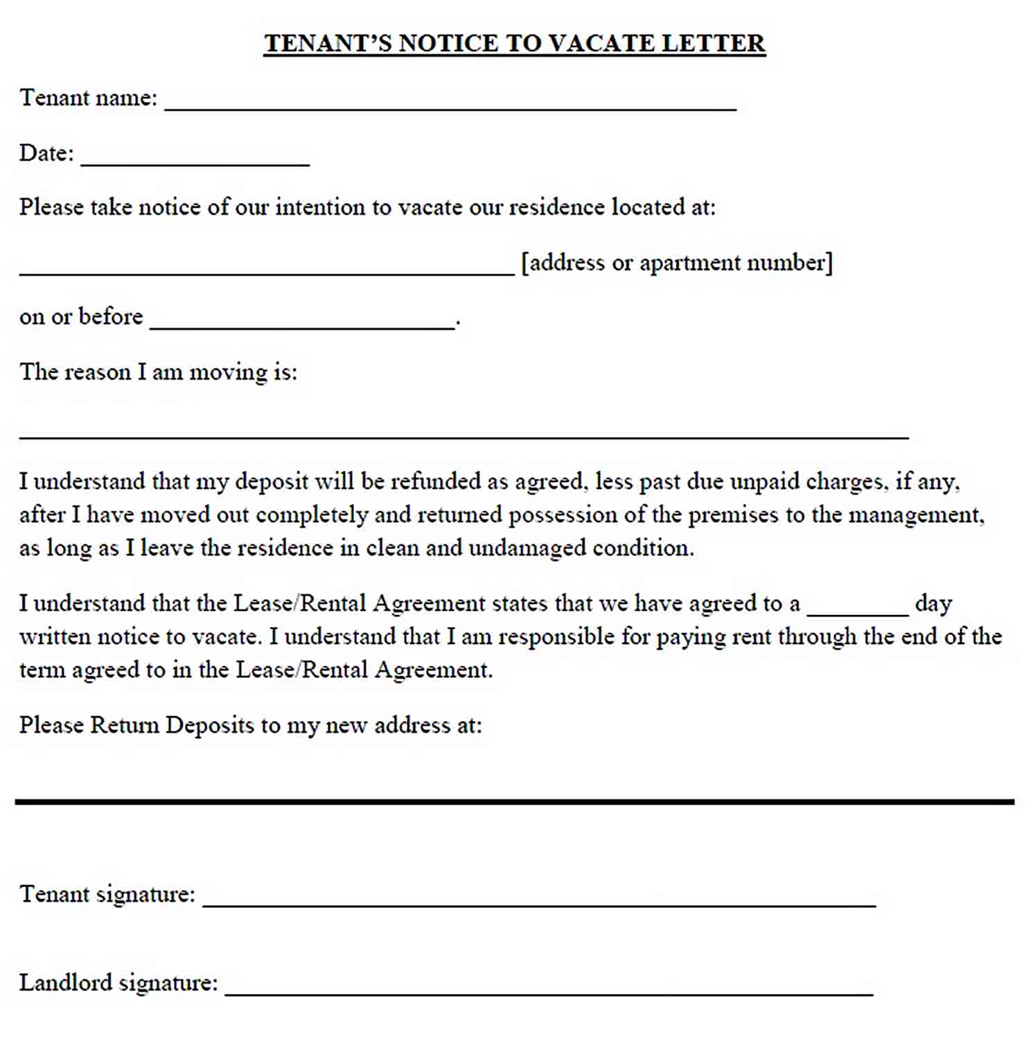 Tenant Notice Vacate Letter sample