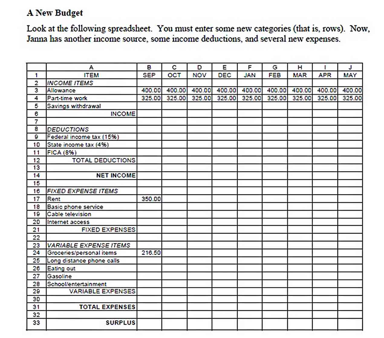 personal college budget template sample
