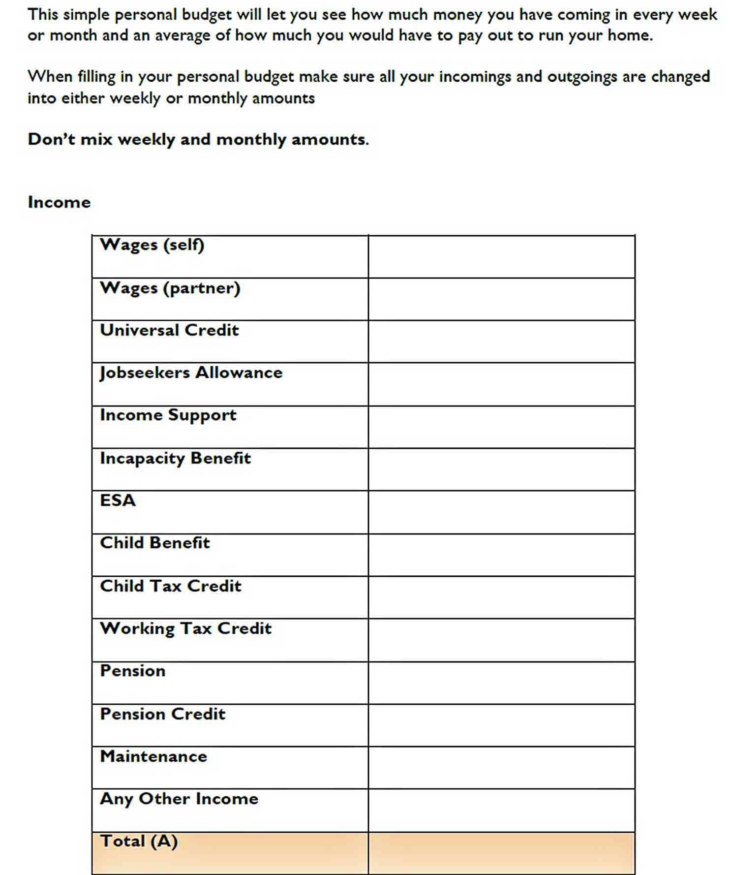 Simple Household Budget Template PDF Format Download sample