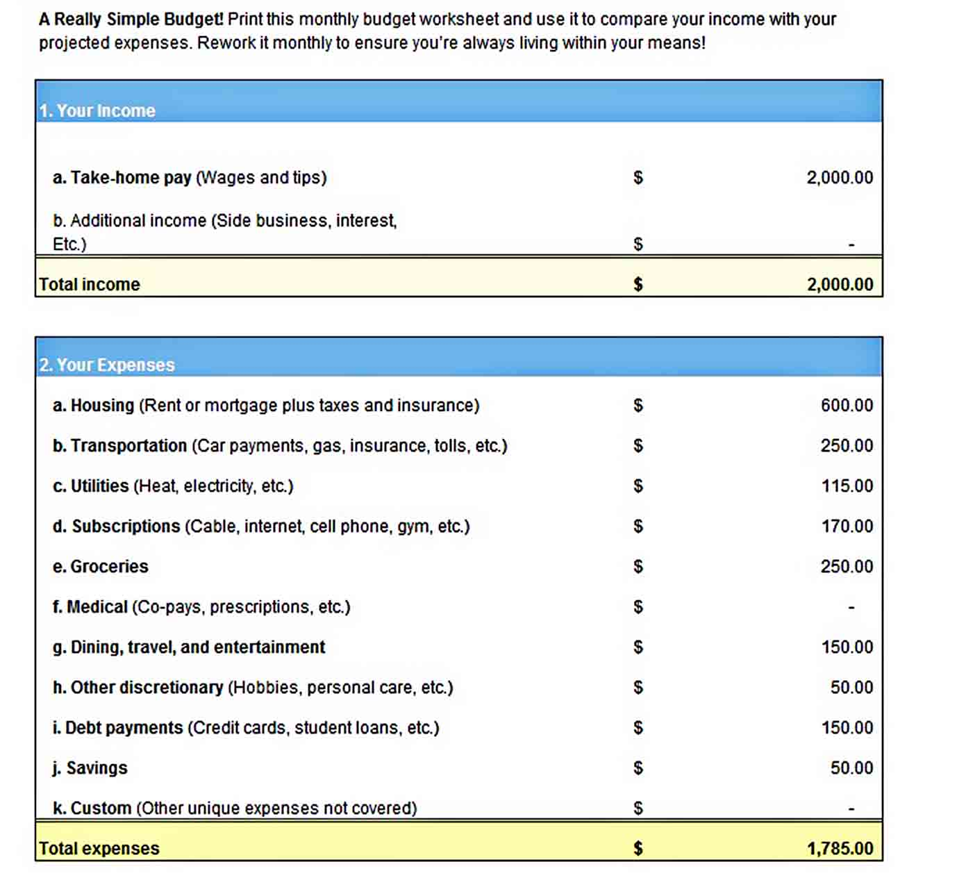 Simple Weekly Budget Template worksheet Excel Format sample