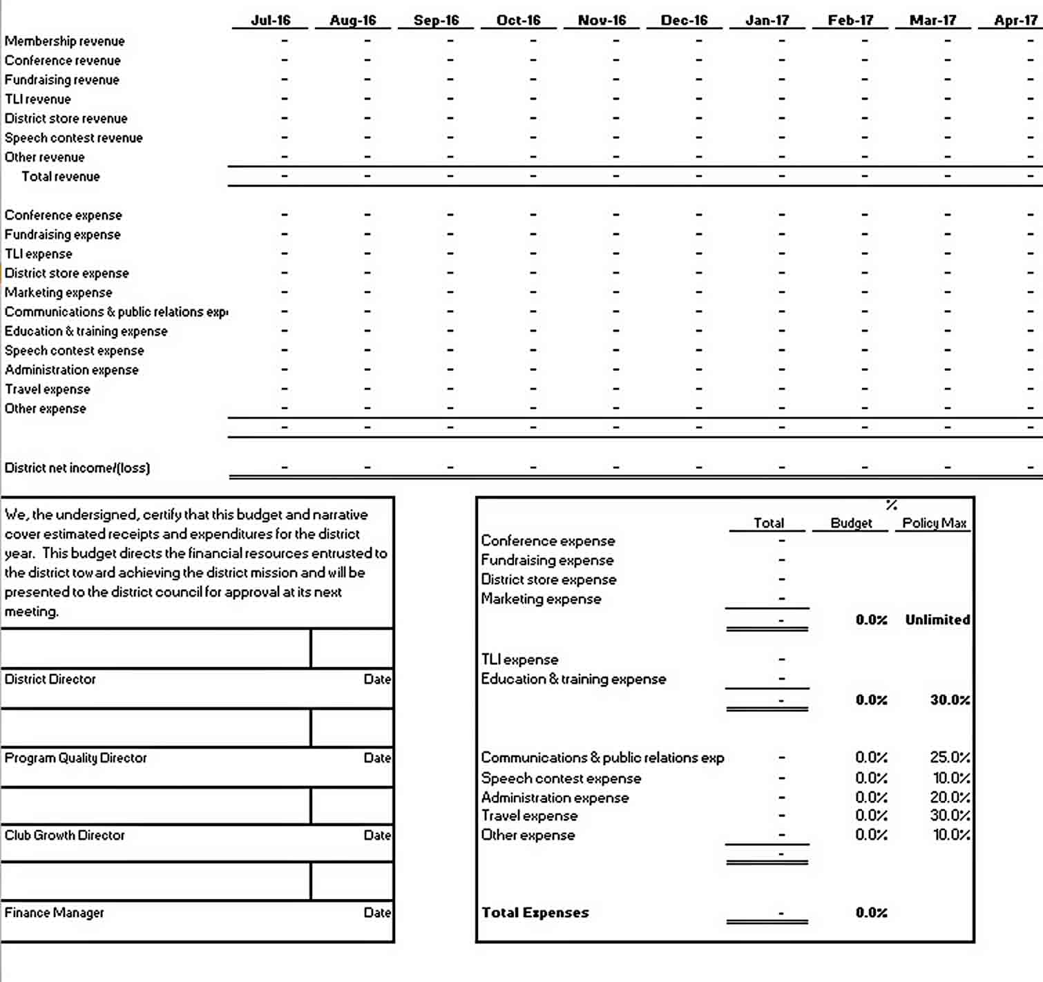 Small Business Monthly Budget Template sample