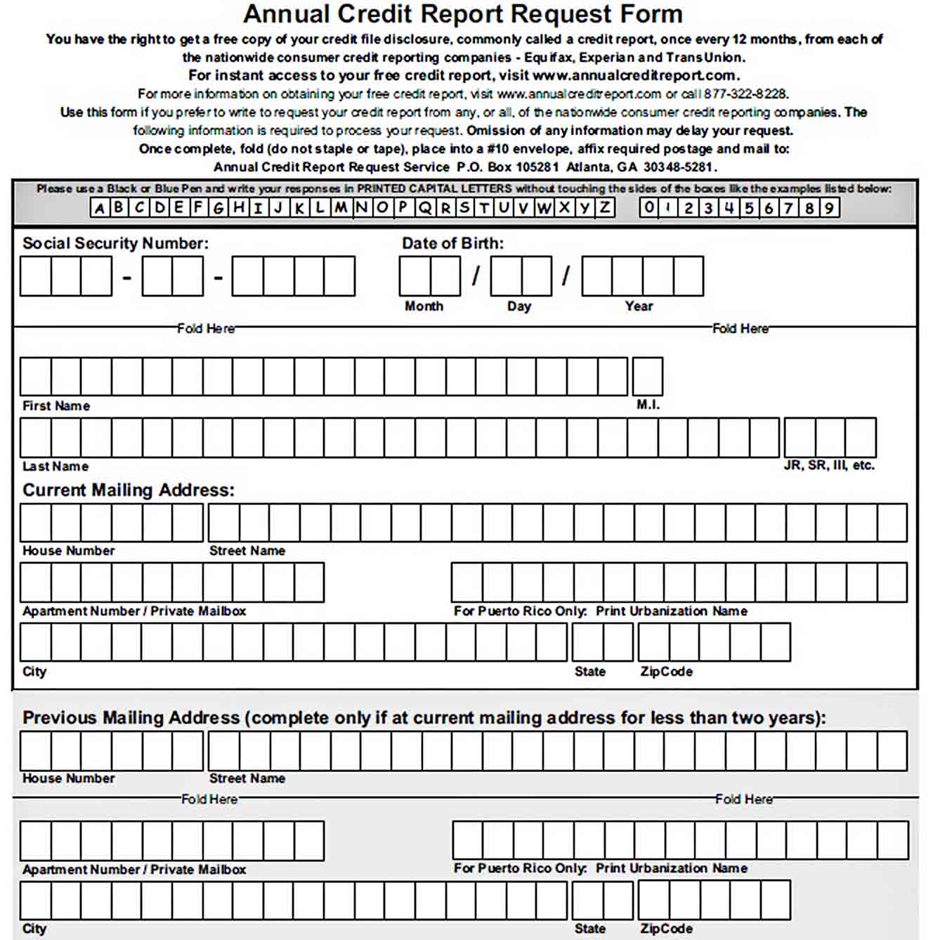 Templates Best Annual Credit Report Request Form