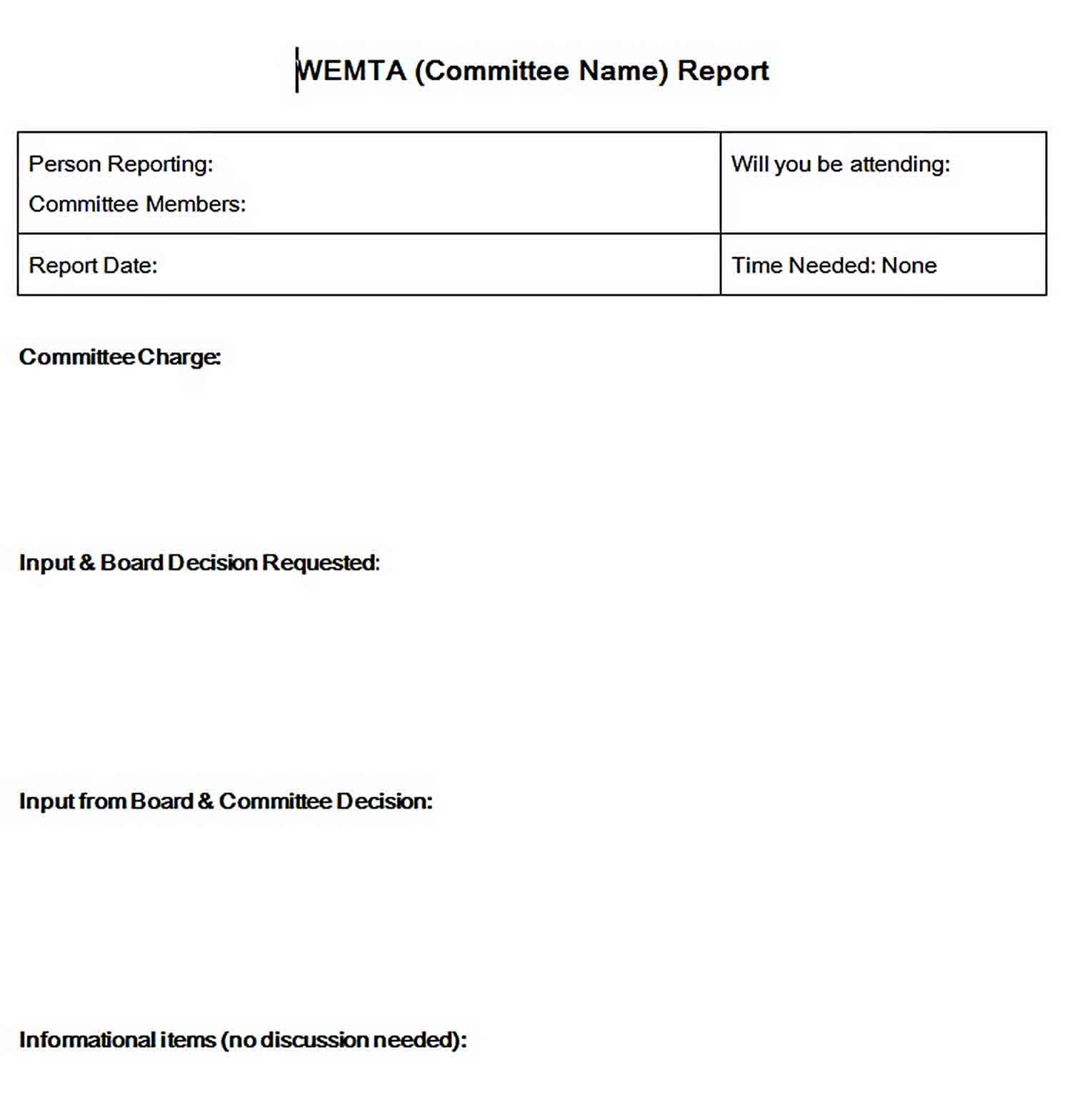 Templates Blank Board Committee Report Word Format Sample