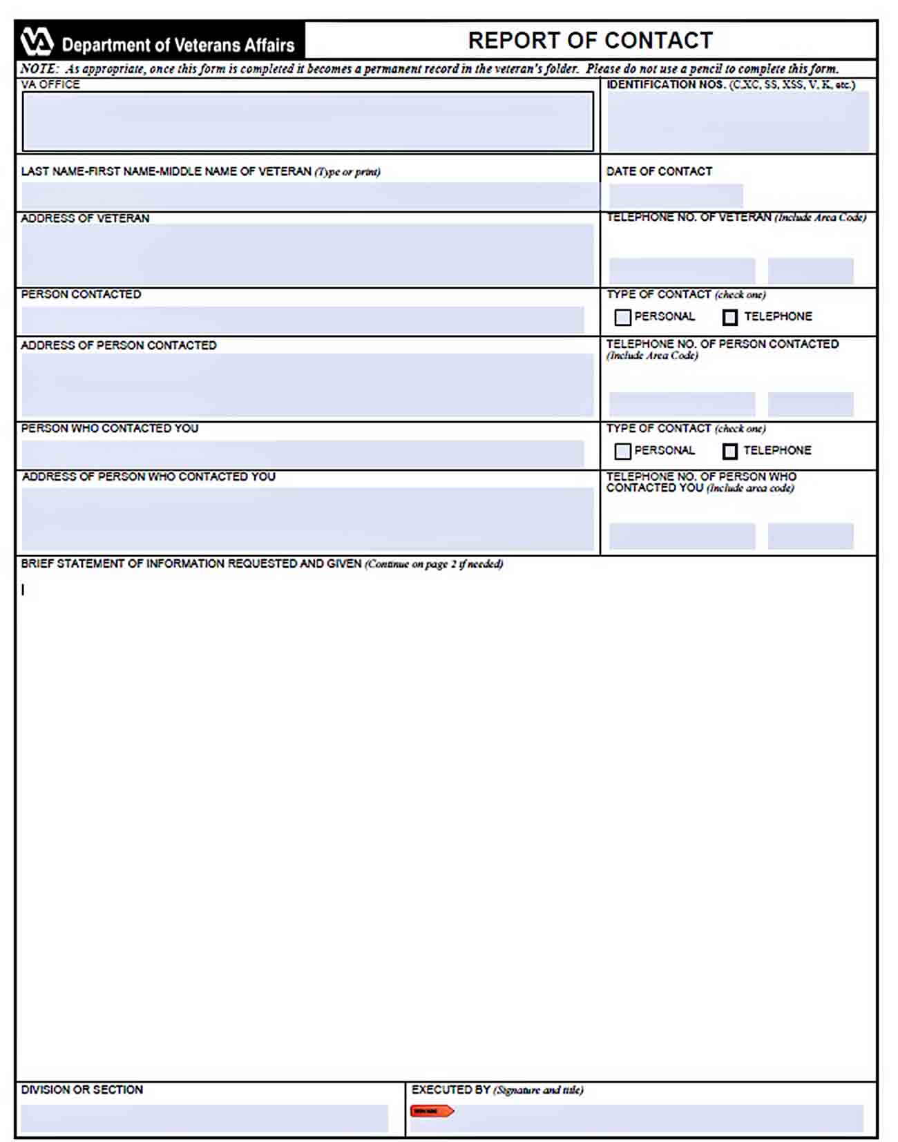 Templates Blank Contact Report