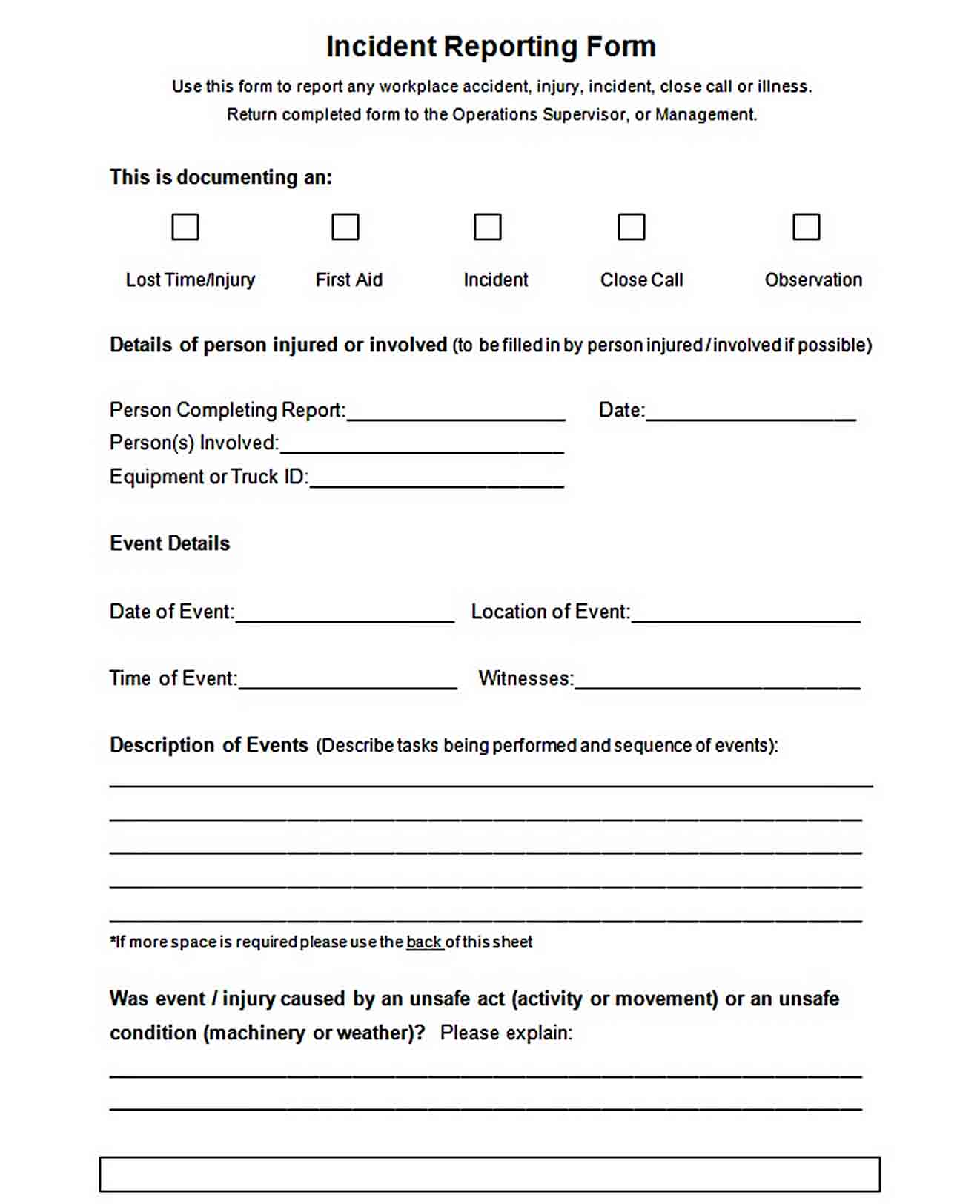 Templates Blank Employee Incident Reporting Form