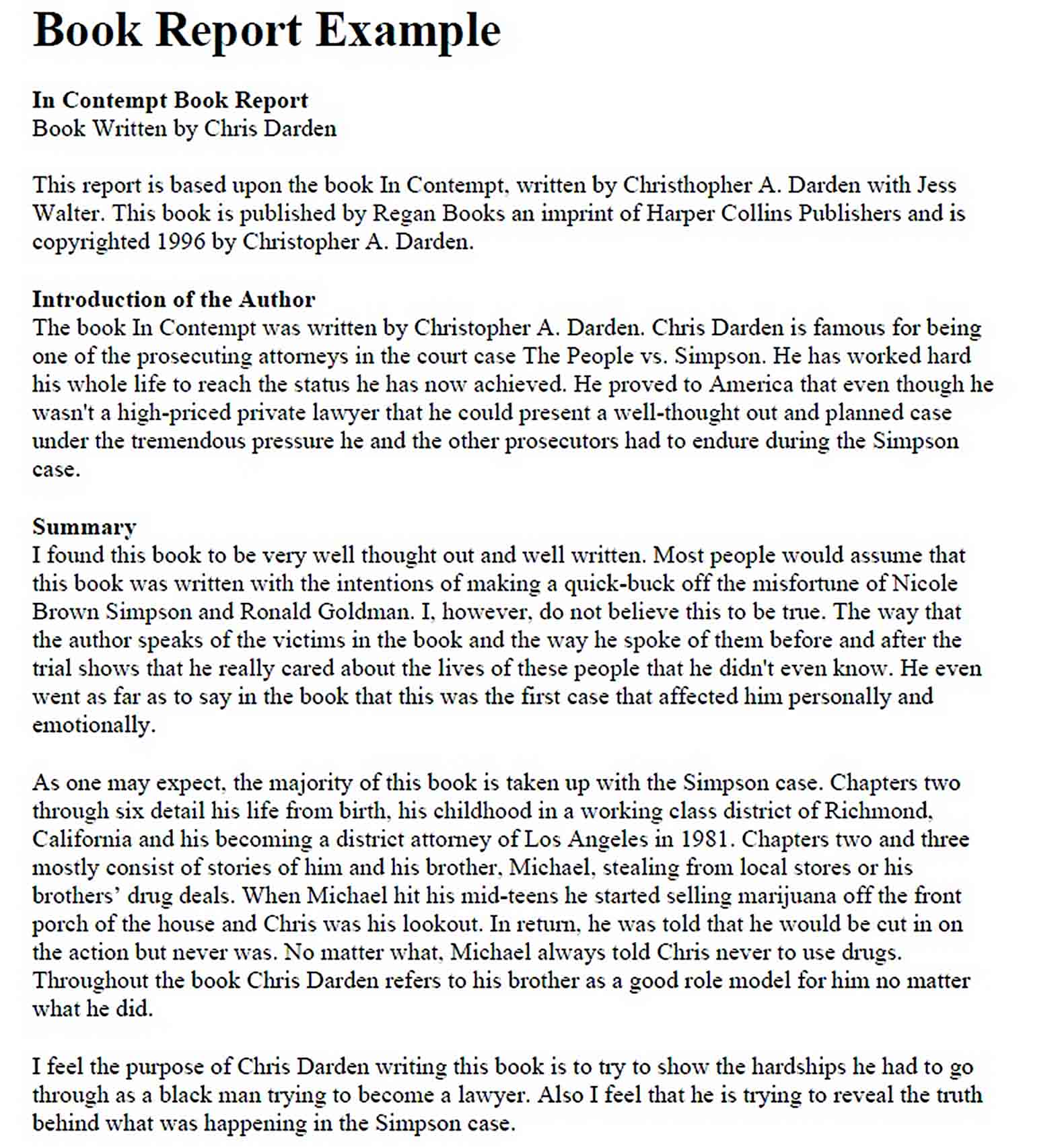 Templates Book Report Example