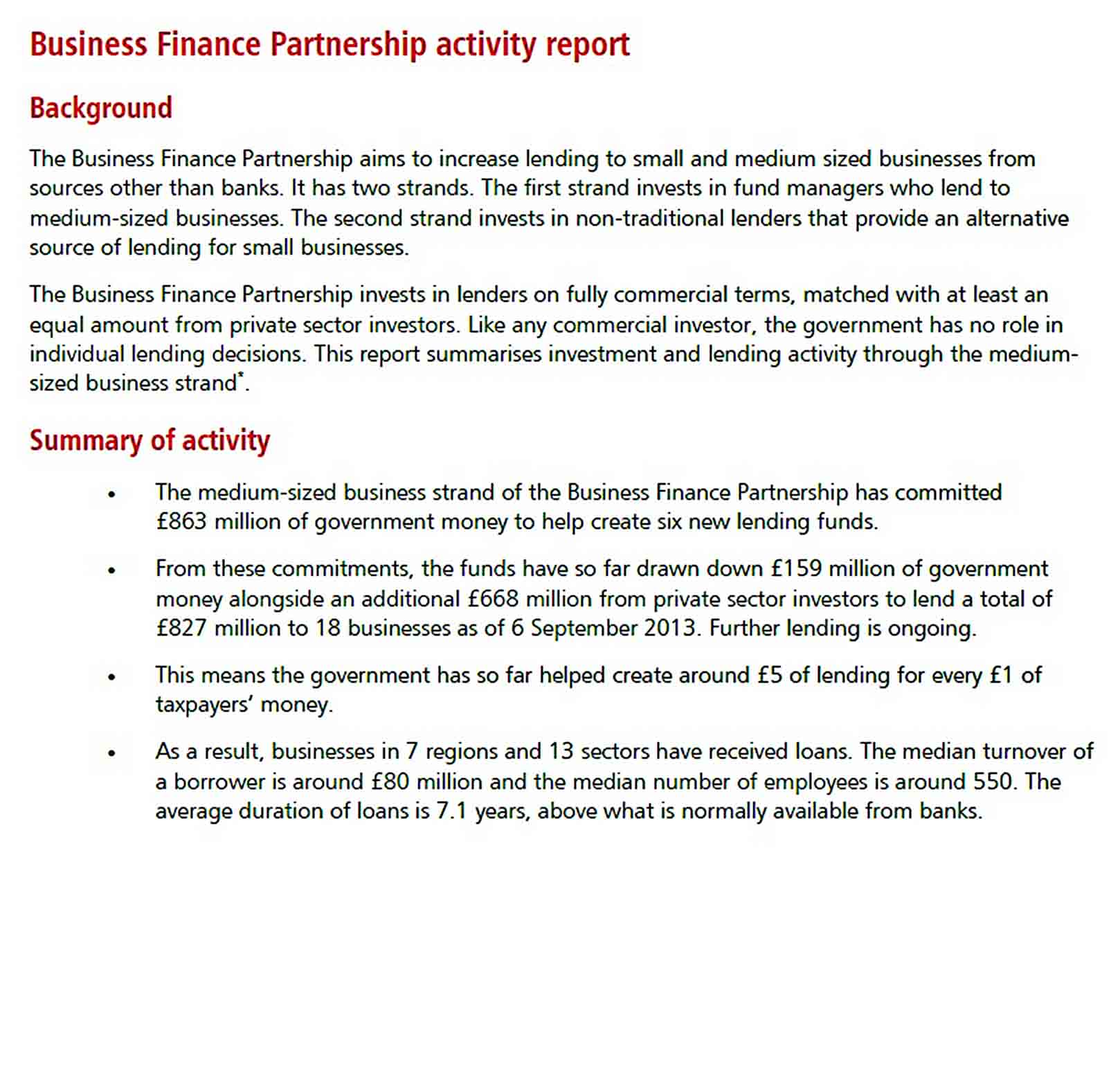Templates Business Finance Partnership Activity Report