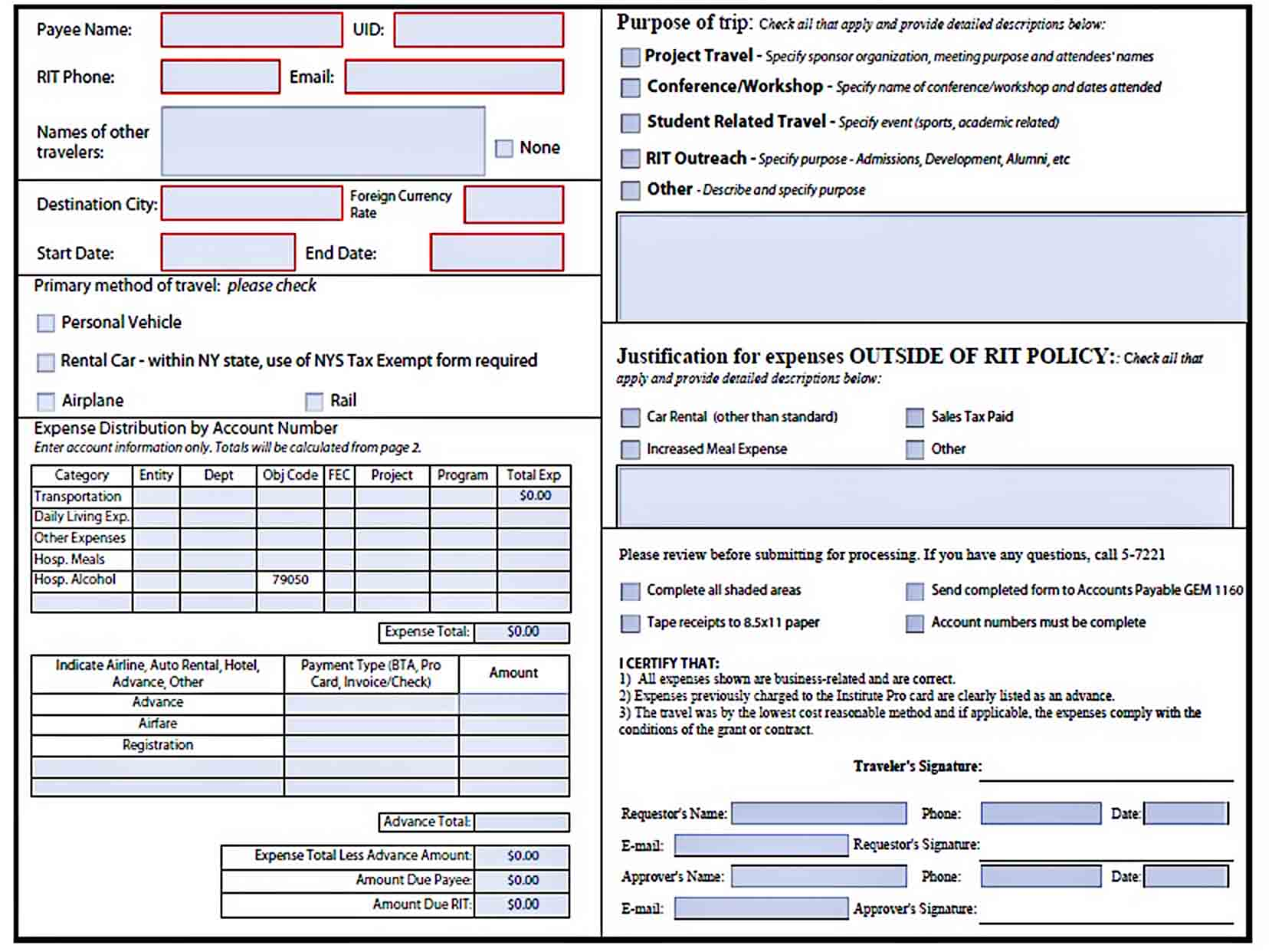 Templates Business Travel Expense Report