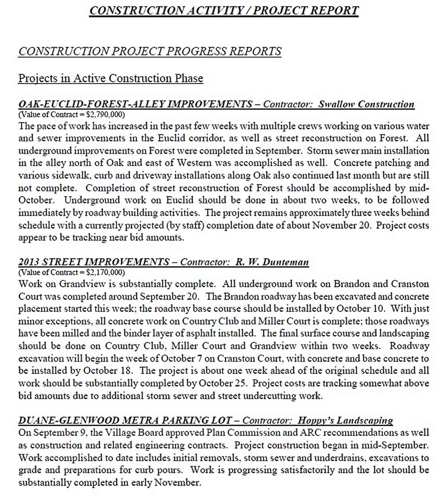 Templates Construction Activity Project Report