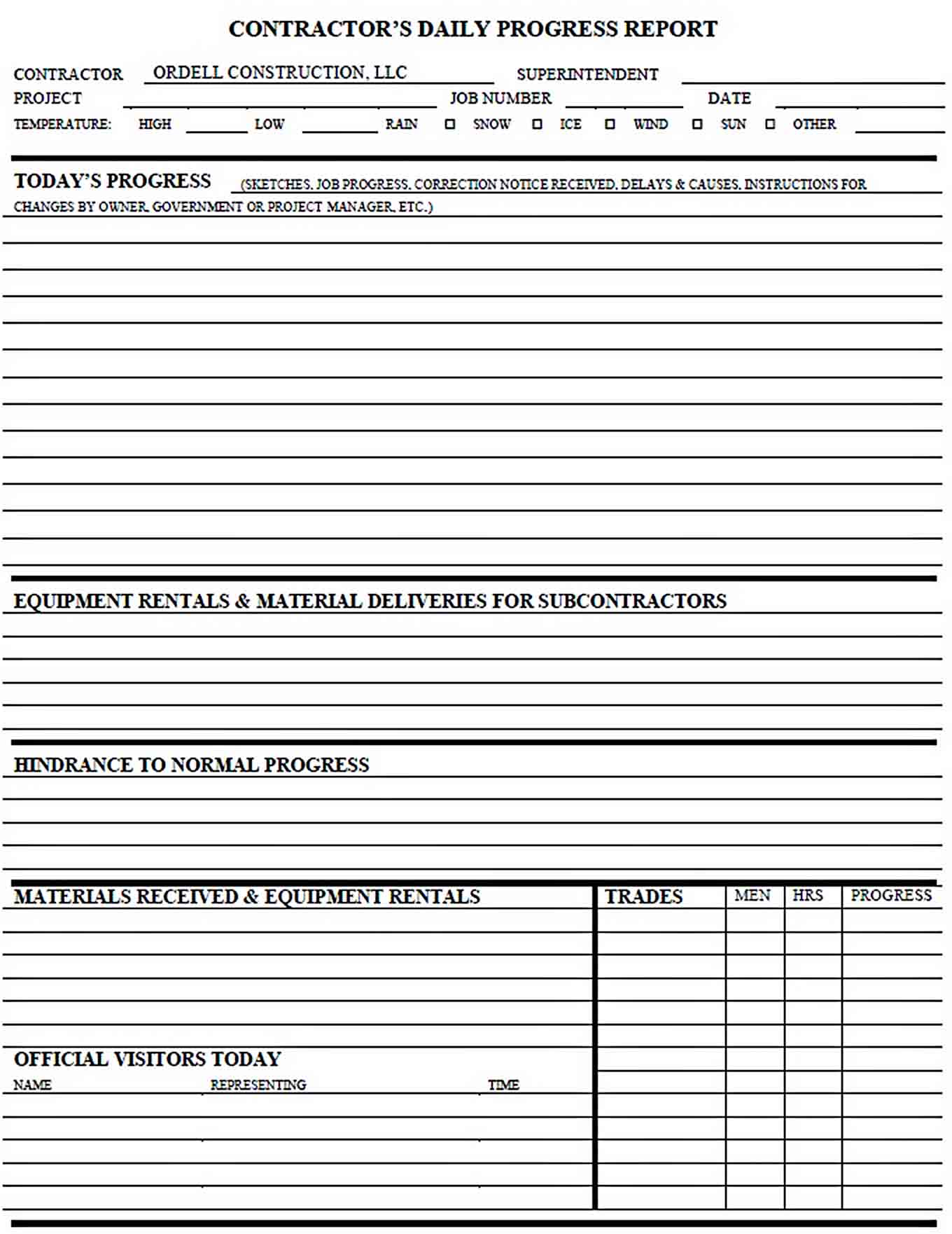 Templates Construction Daily Progress Report Form