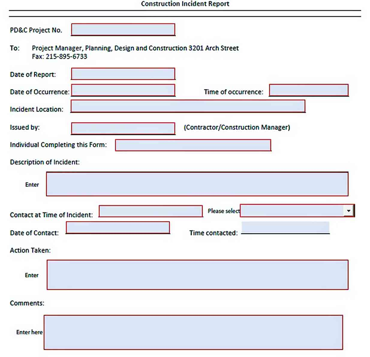 Templates Construction Incident Report Format