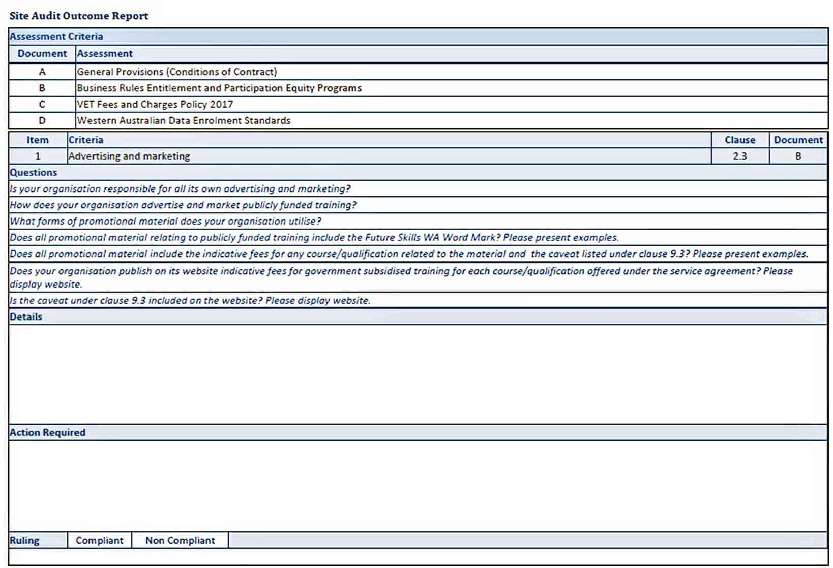 Templates Contract Compliance Audit Report