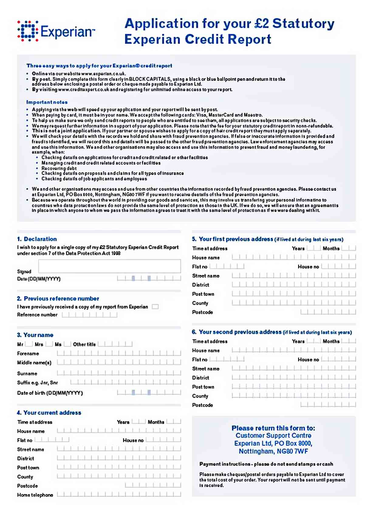 Templates Credit Report Application Form