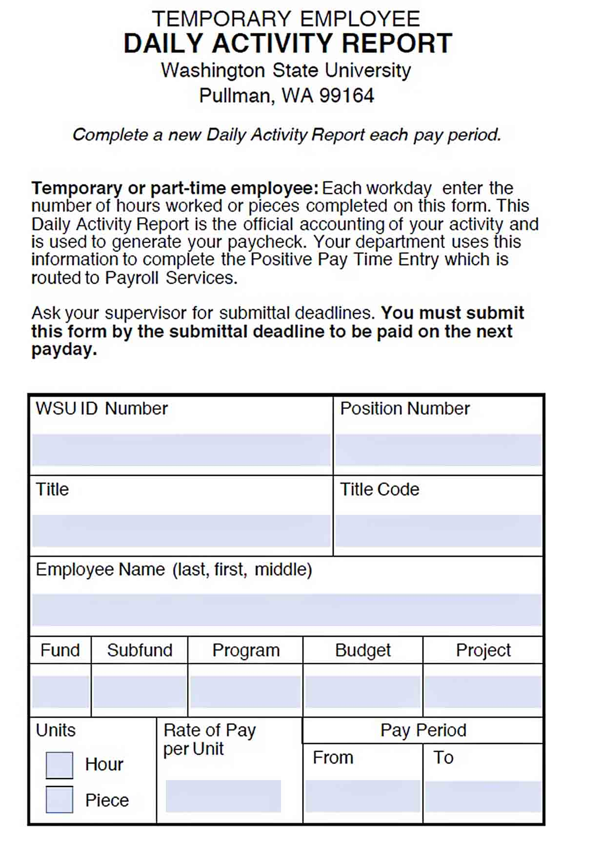 Templates Daily Activity Report for Temporary Employee