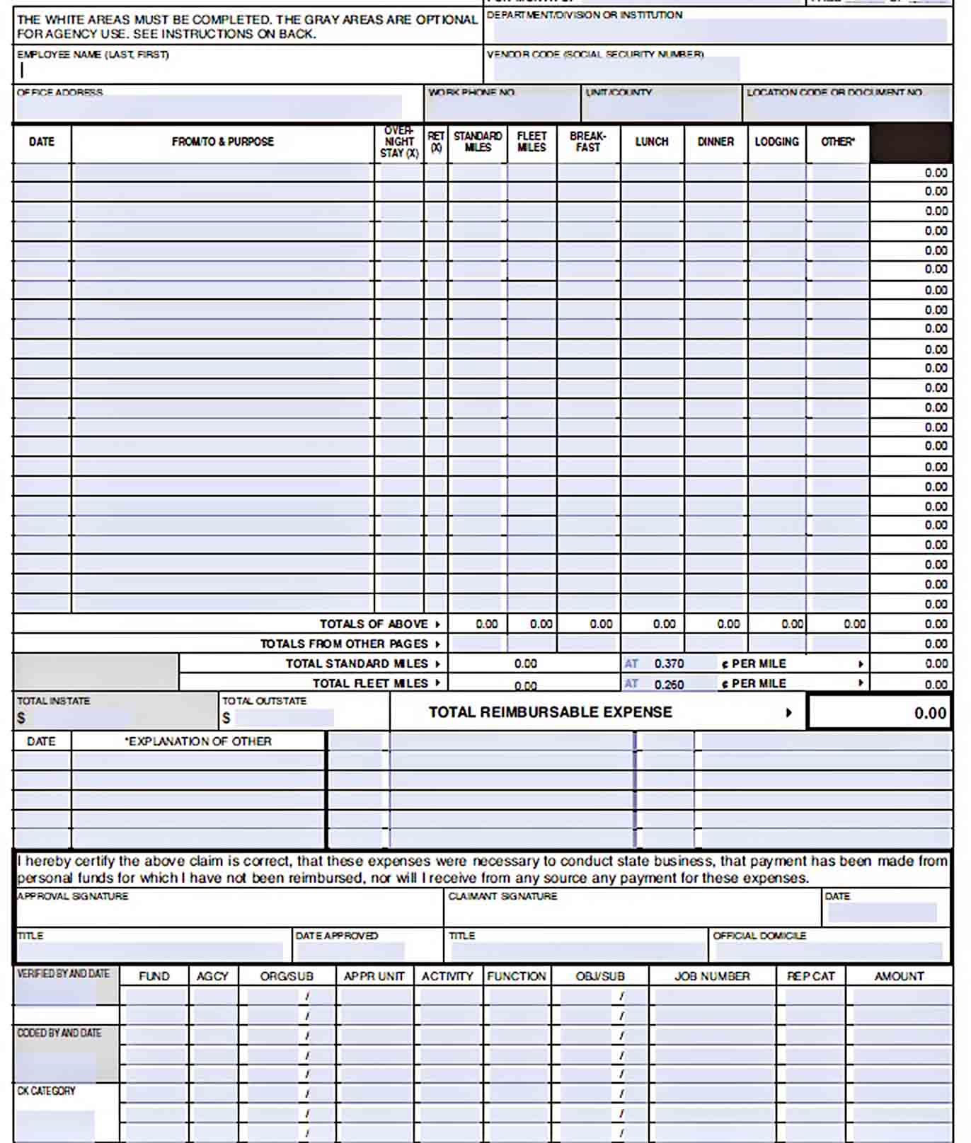 Templates Employee Monthly Expense Report