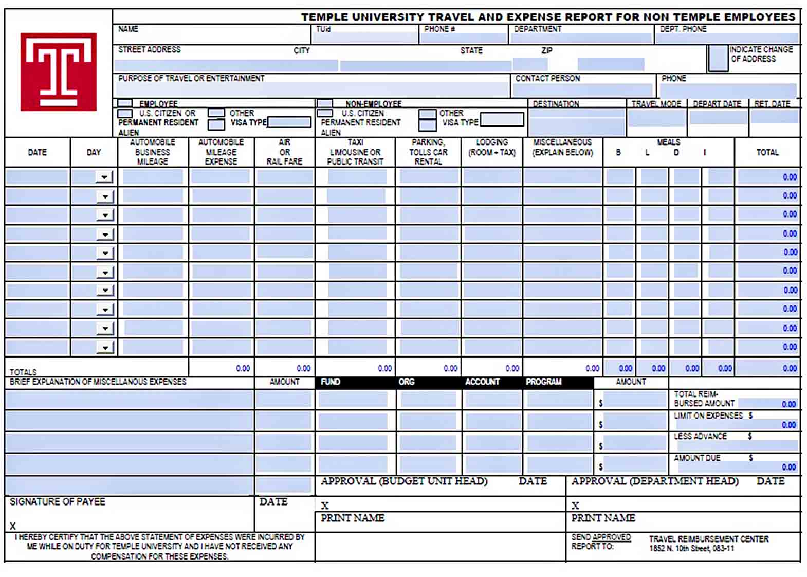 Templates Employee Travel and Expense Report
