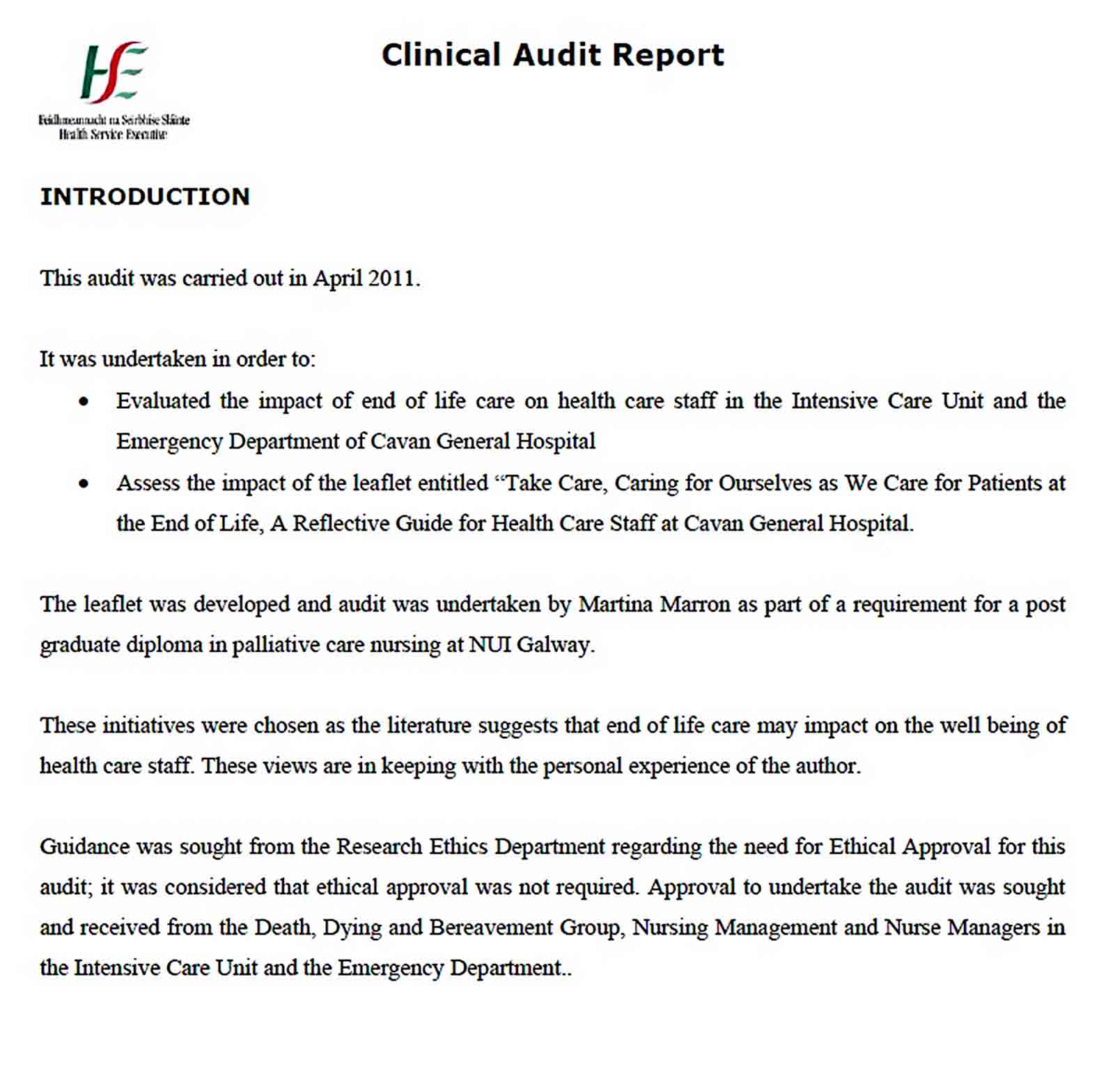 Templates End of Life Clinical Audit Report
