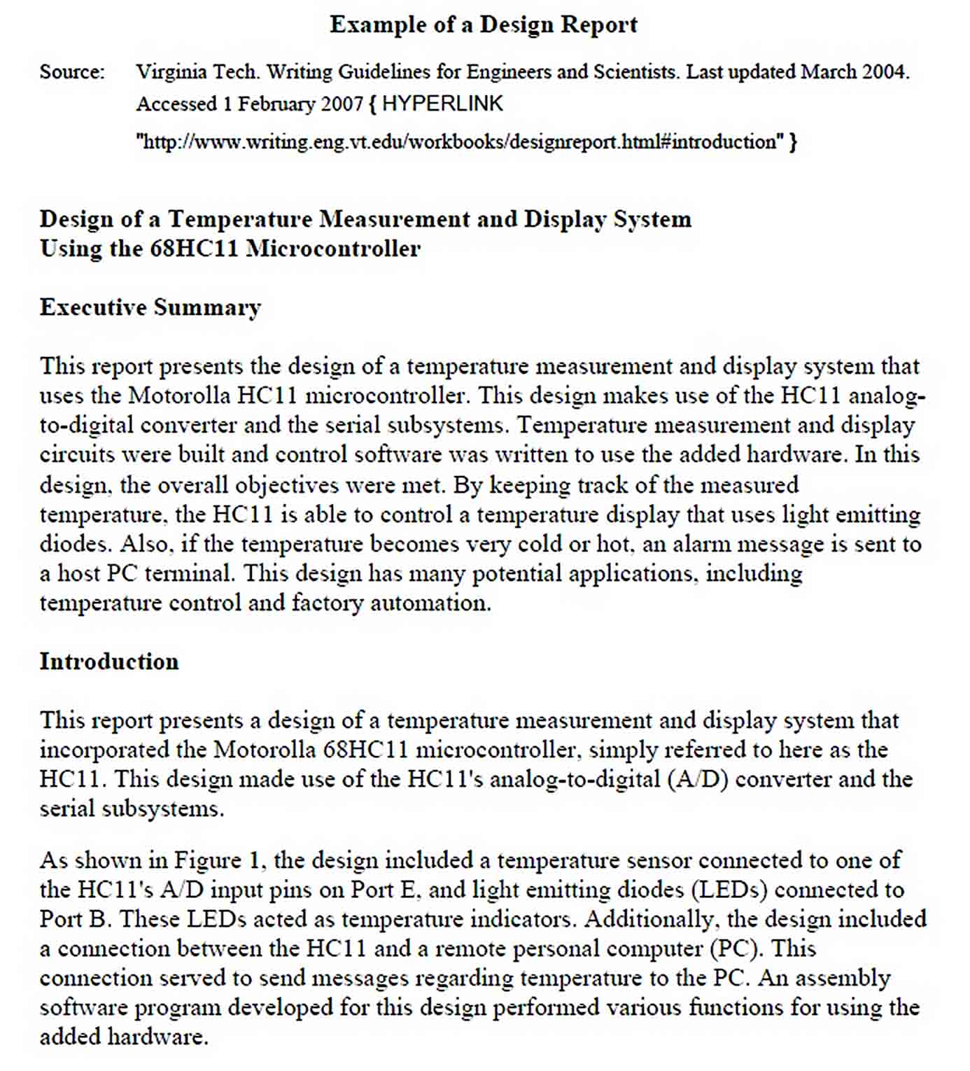 Templates Example of a Design Report2