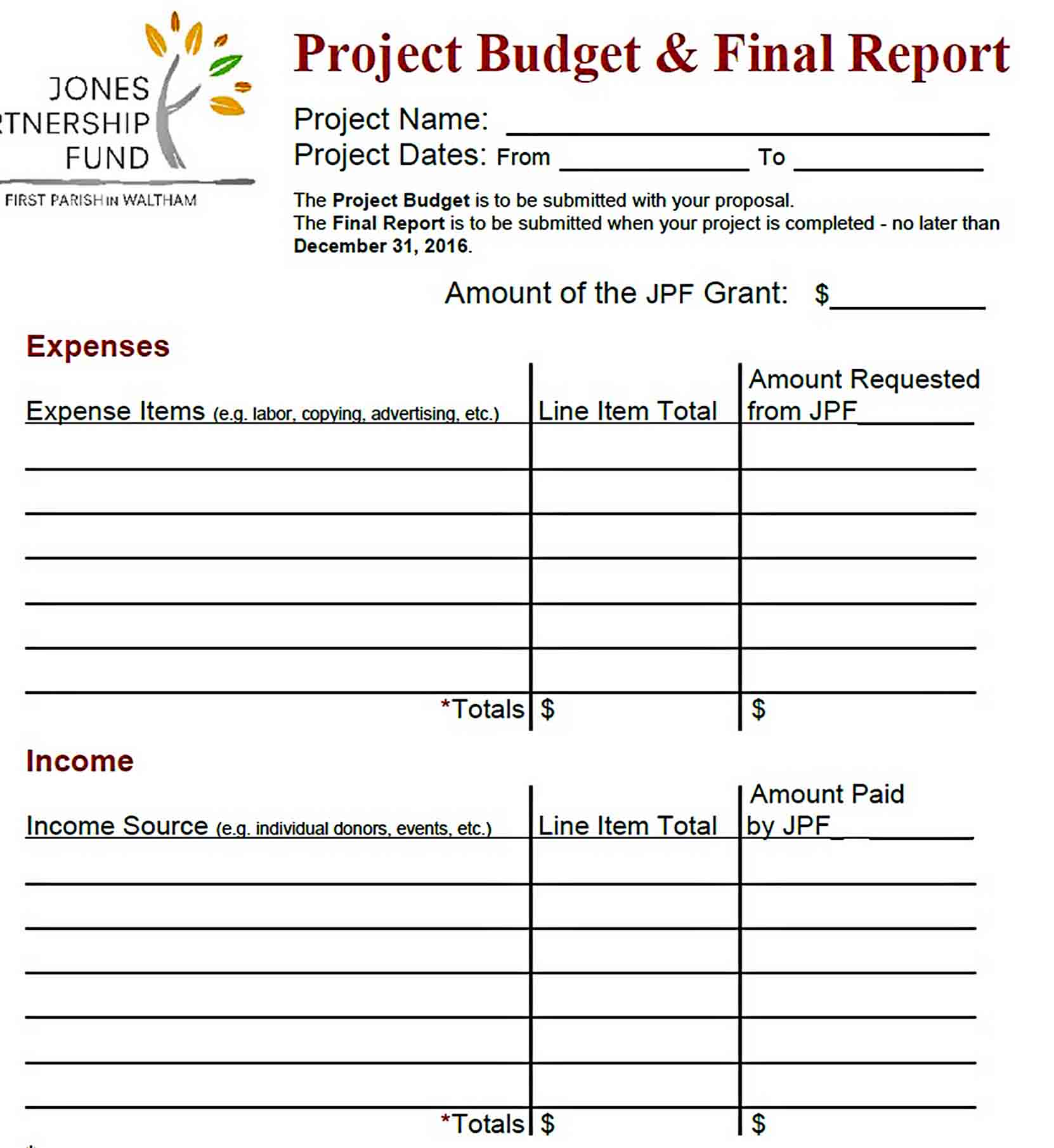 Templates Final Project Budget Report