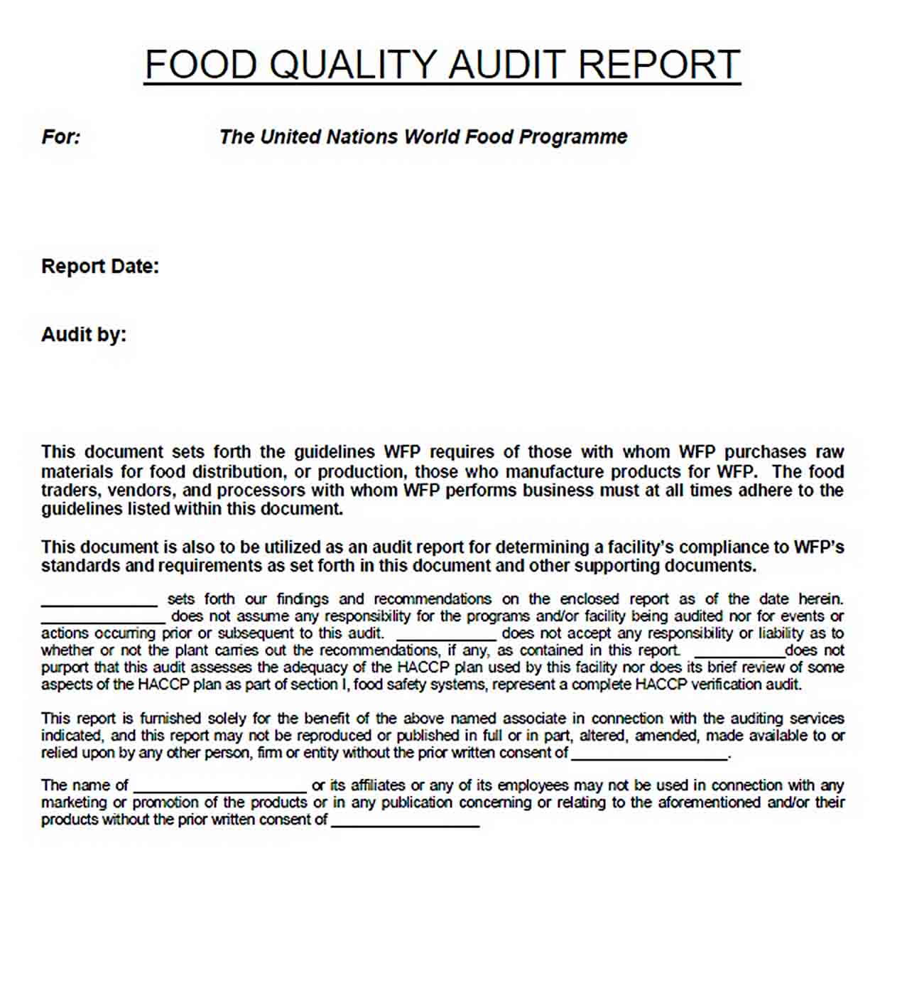 Templates Food Safety Inspection