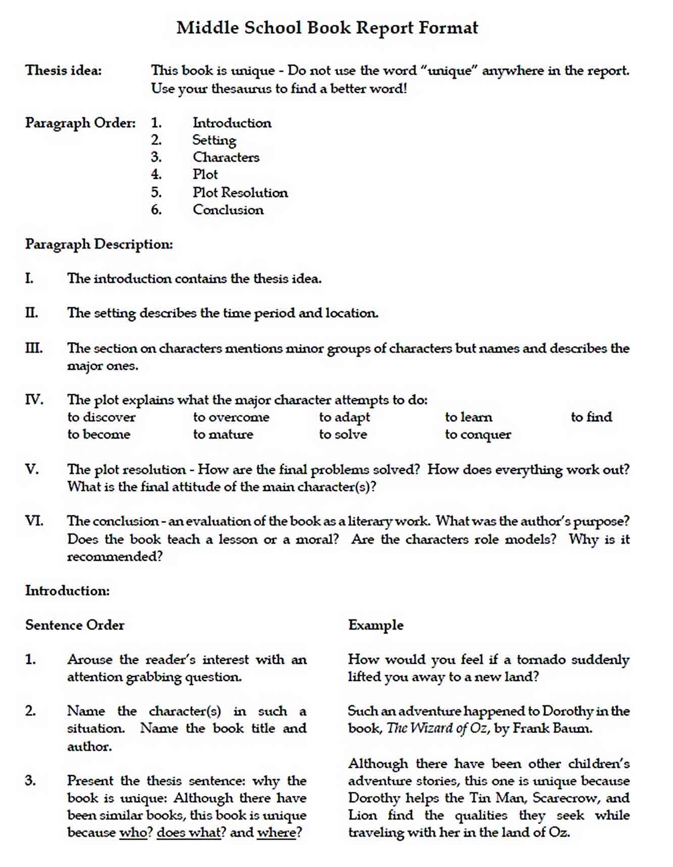 Templates Middle School Book Report Format