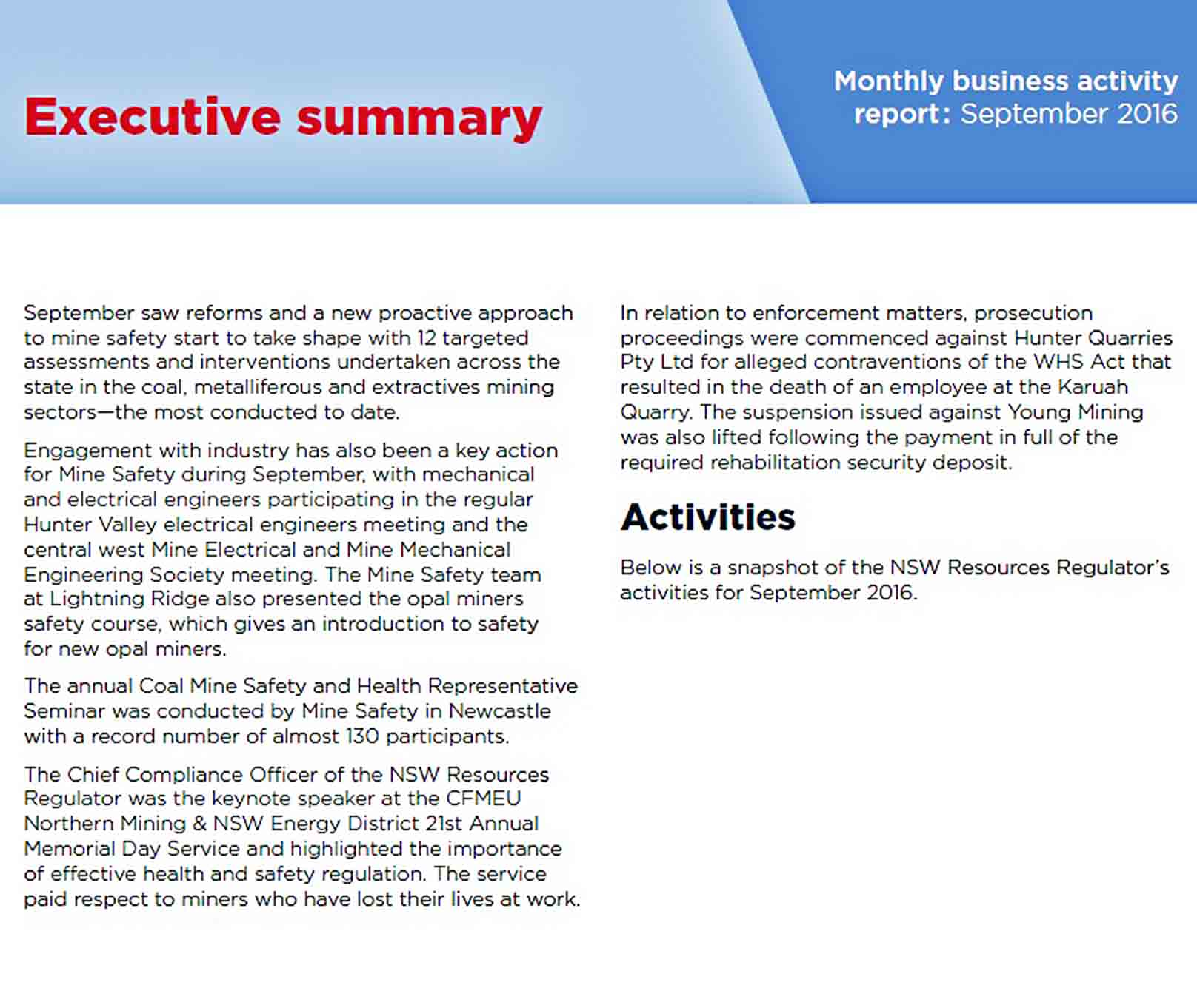 Templates Monthly Business Activity Report