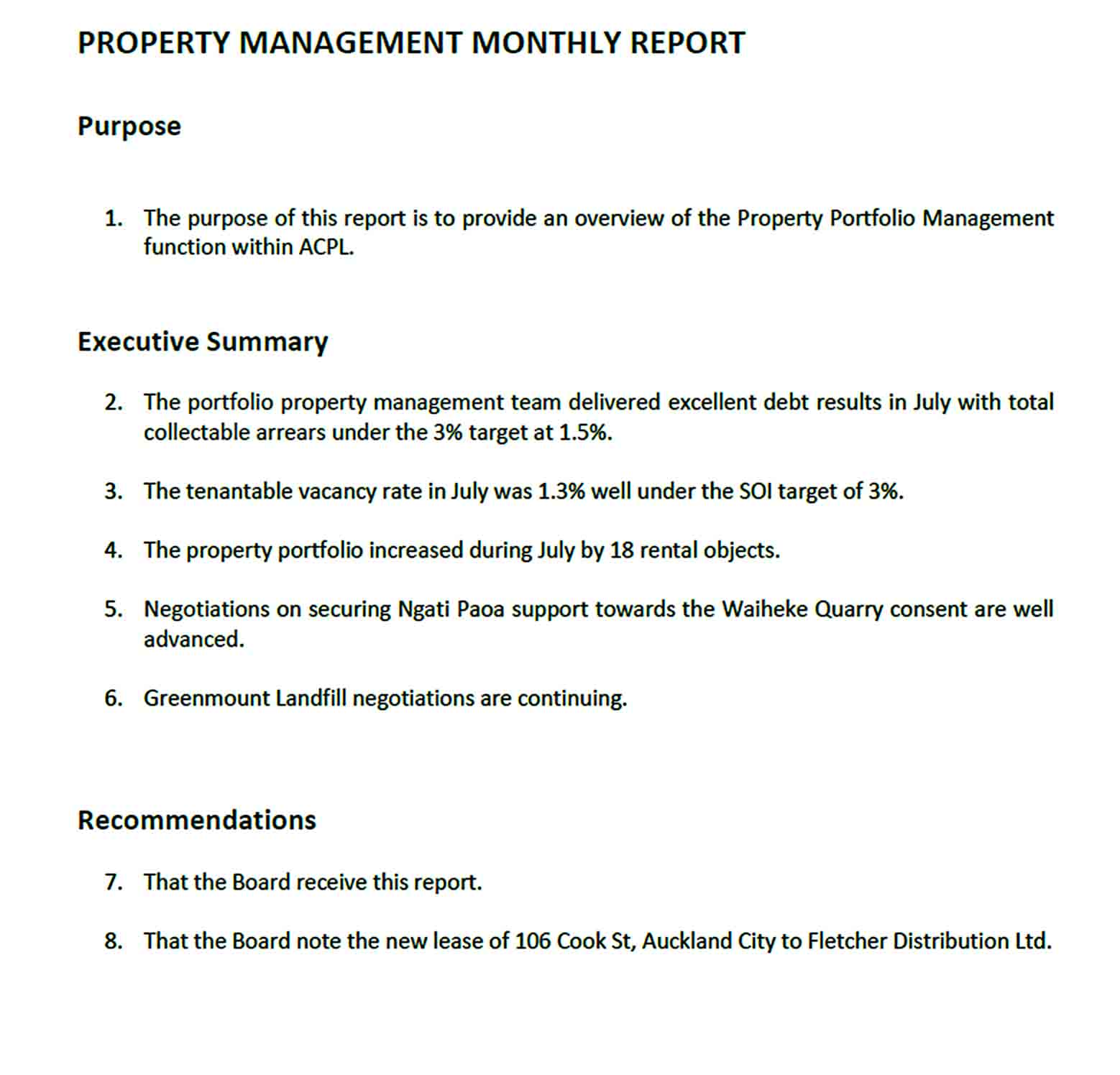 Templates Monthly Property Management Report
