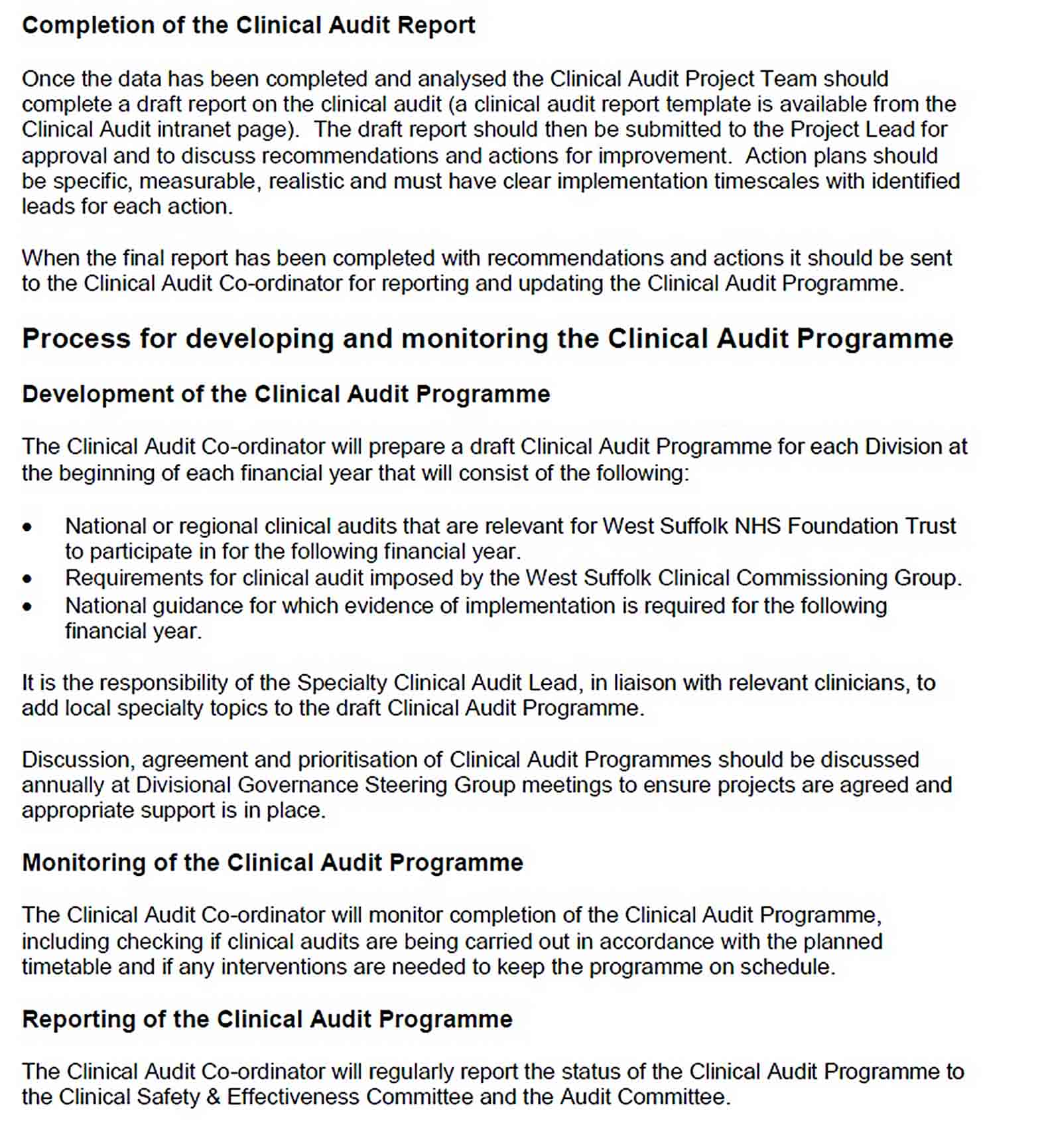 Templates Orthotic Department Clinical Audit Report
