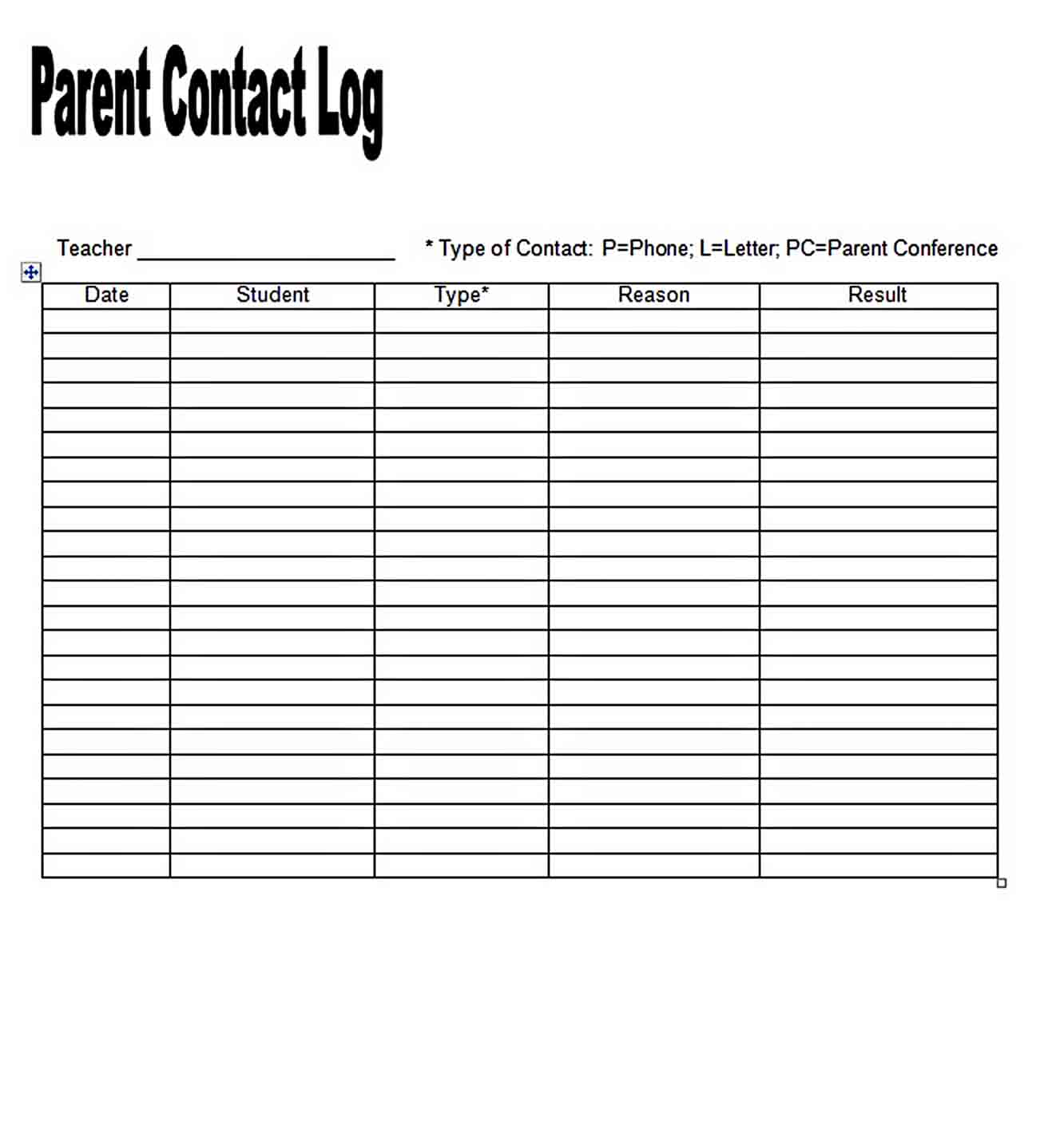 Templates Parent Contact Log