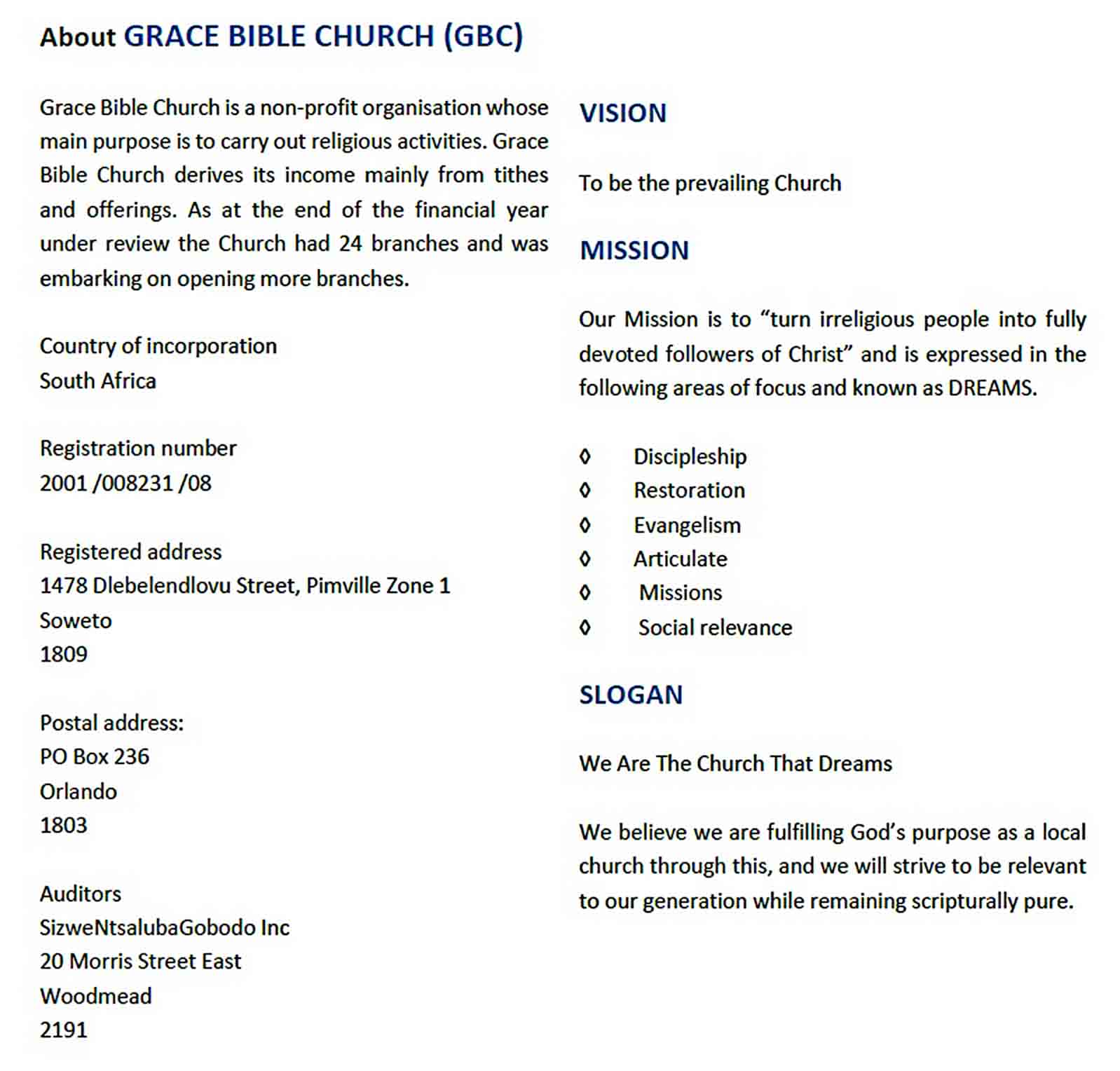 Templates Printable Church Annual Report