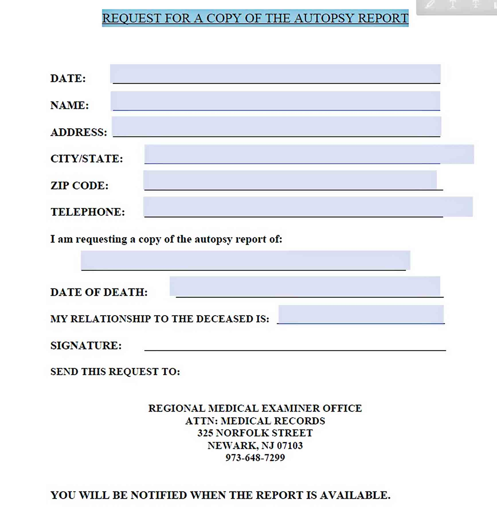 Templates Request for Autopsy Report