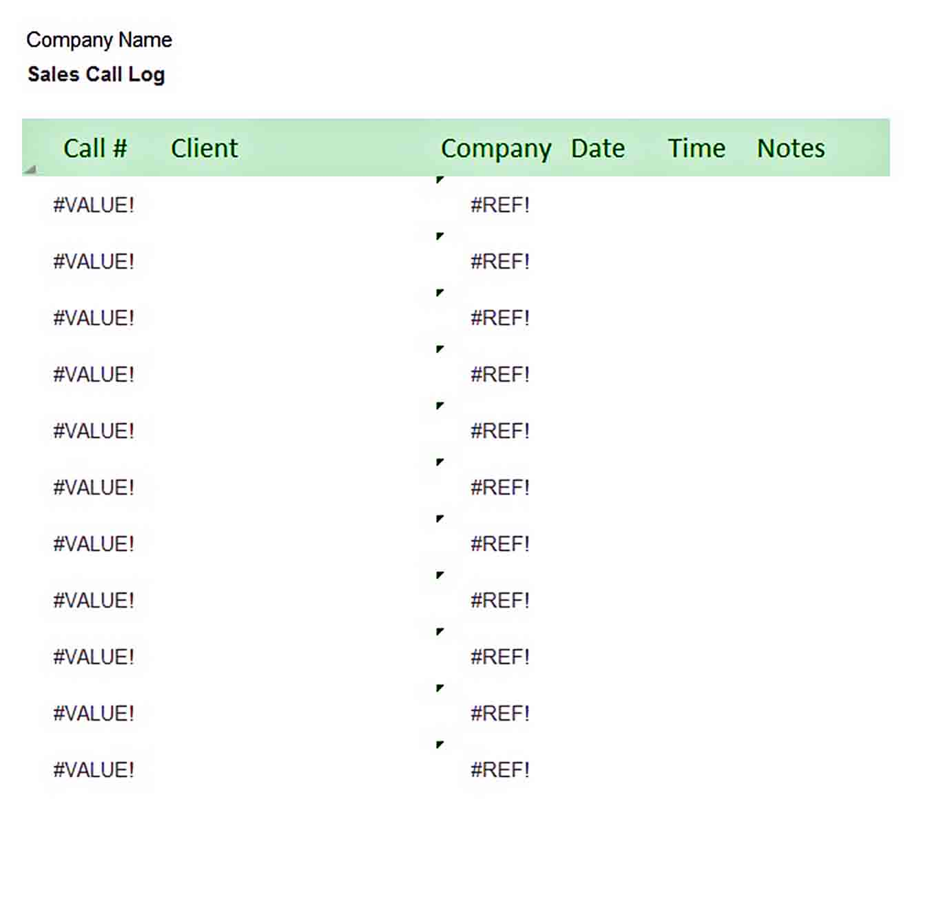 Templates Sales Call Log Excel