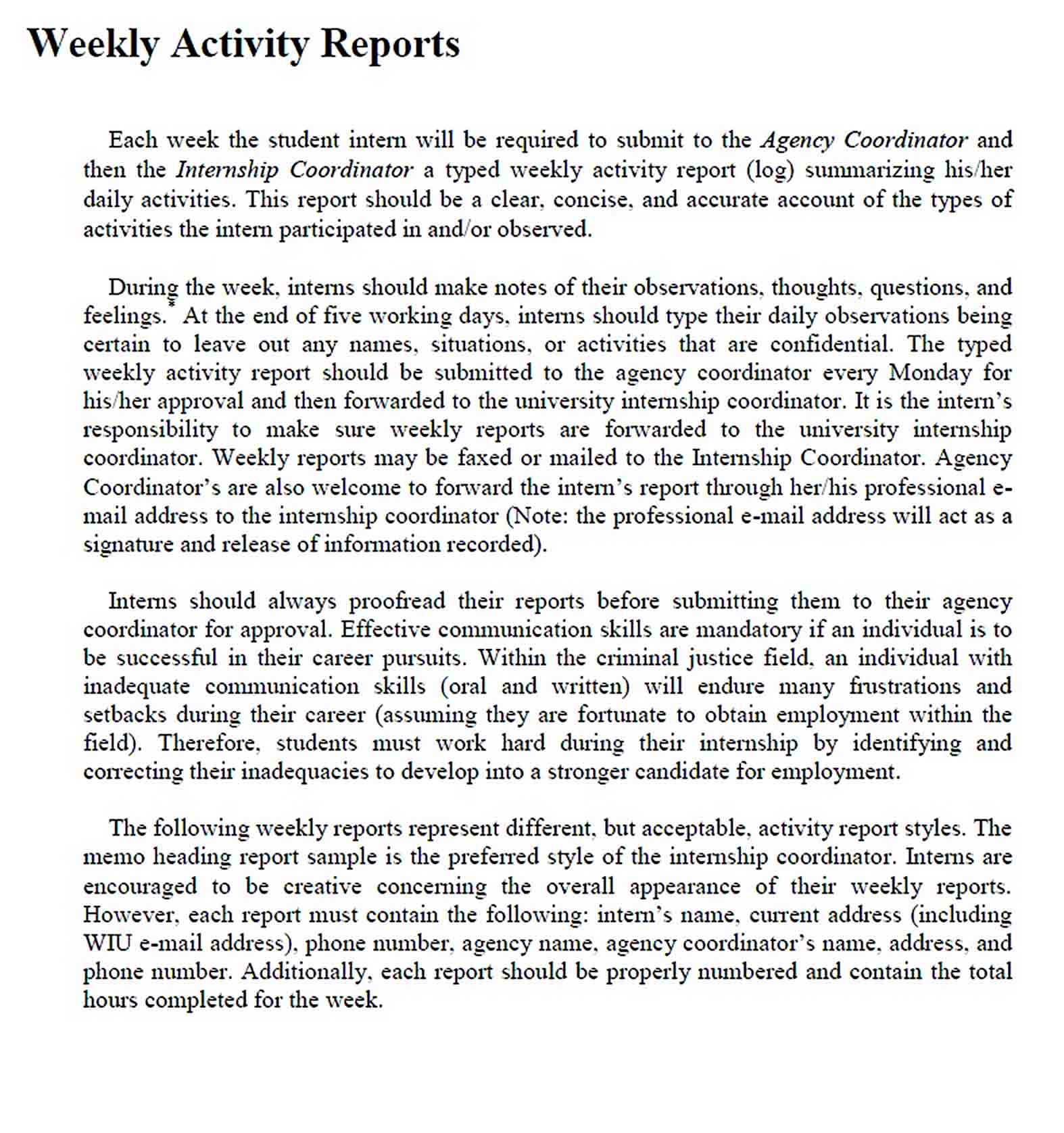 Templates Weekly Activity Report in