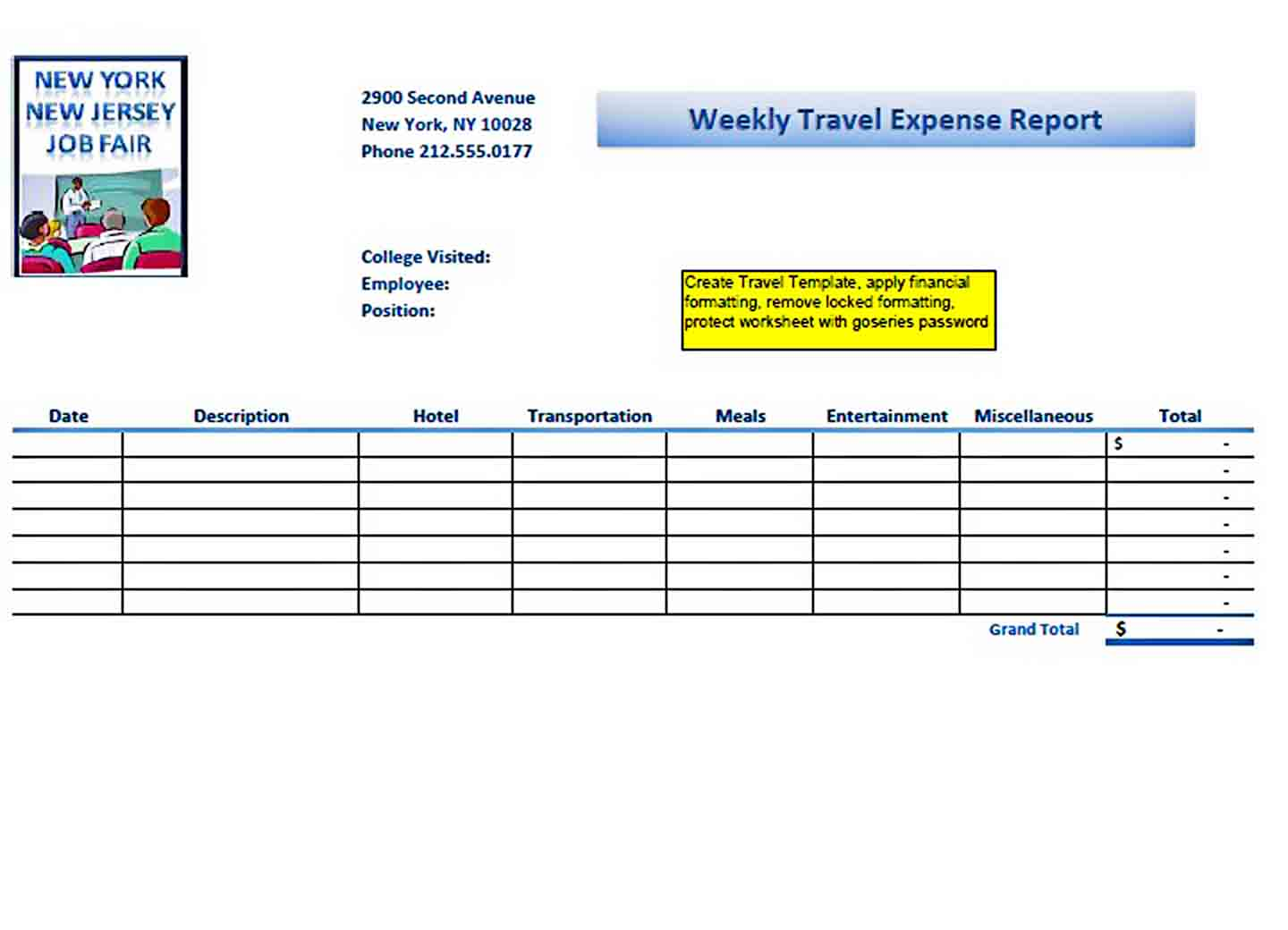 Templates Weekly Travel Expense Report