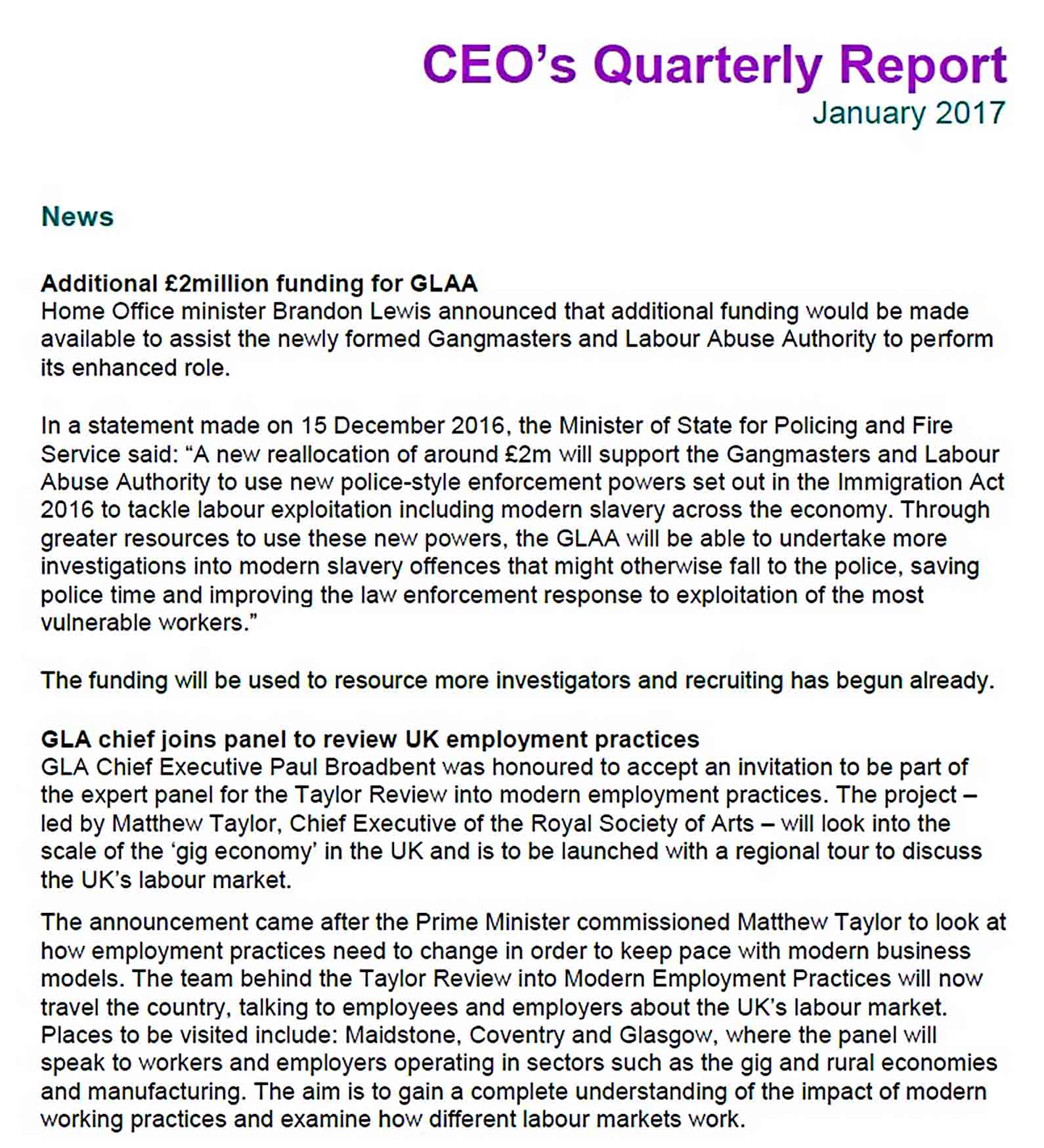 Templates ceo report january 2017