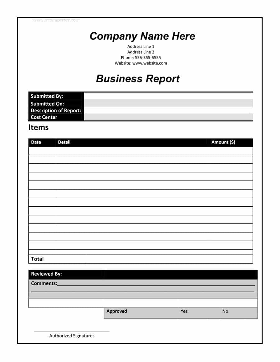 business report format 2