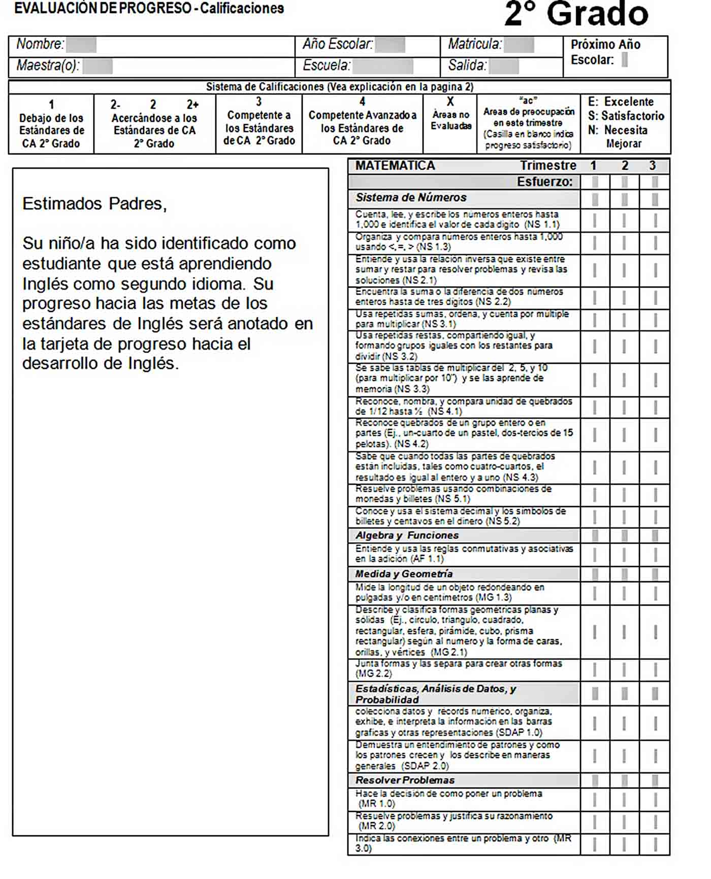 Templates 2nd Grade Student Report Card Word Format Editable