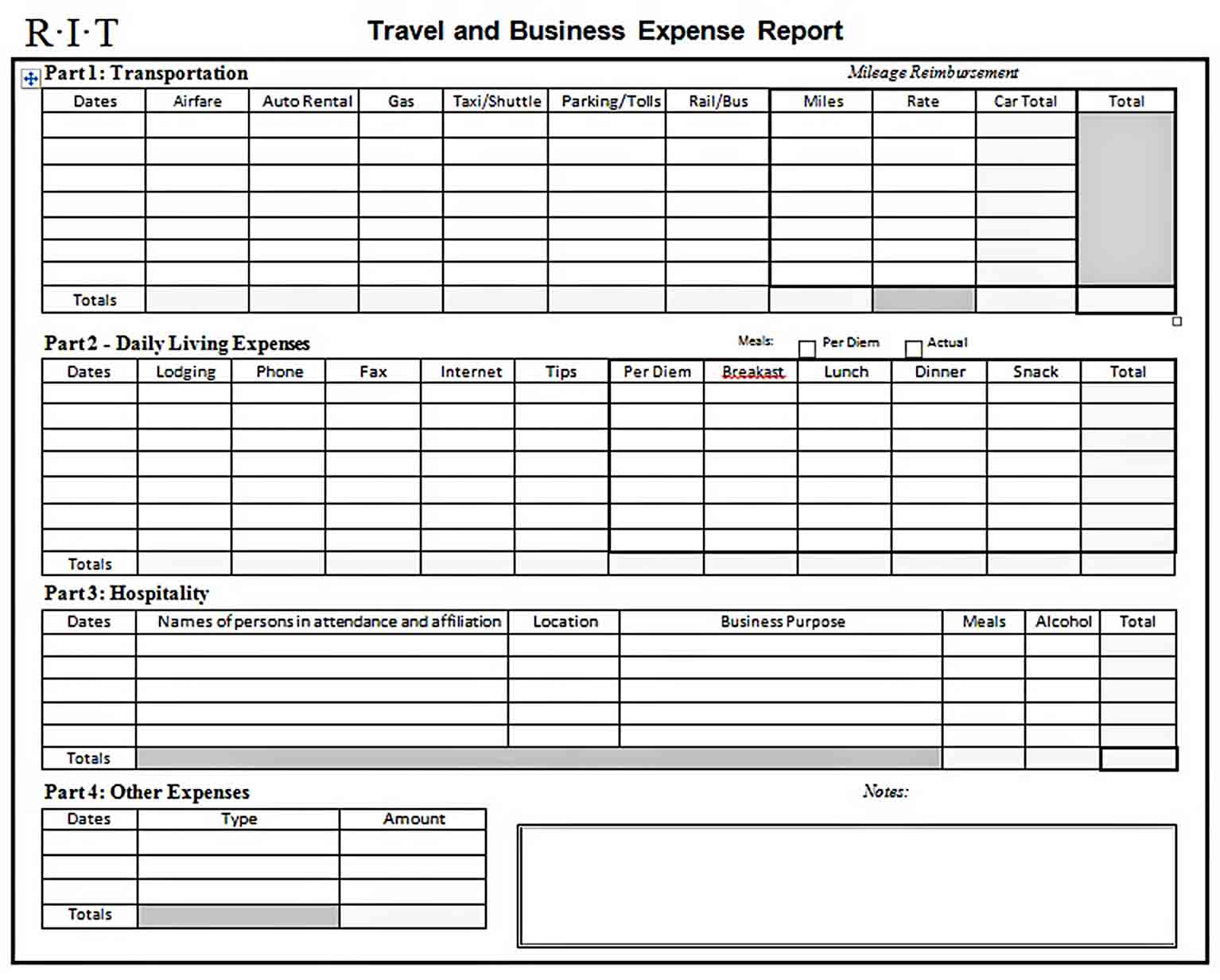 Templates Business Expense Report