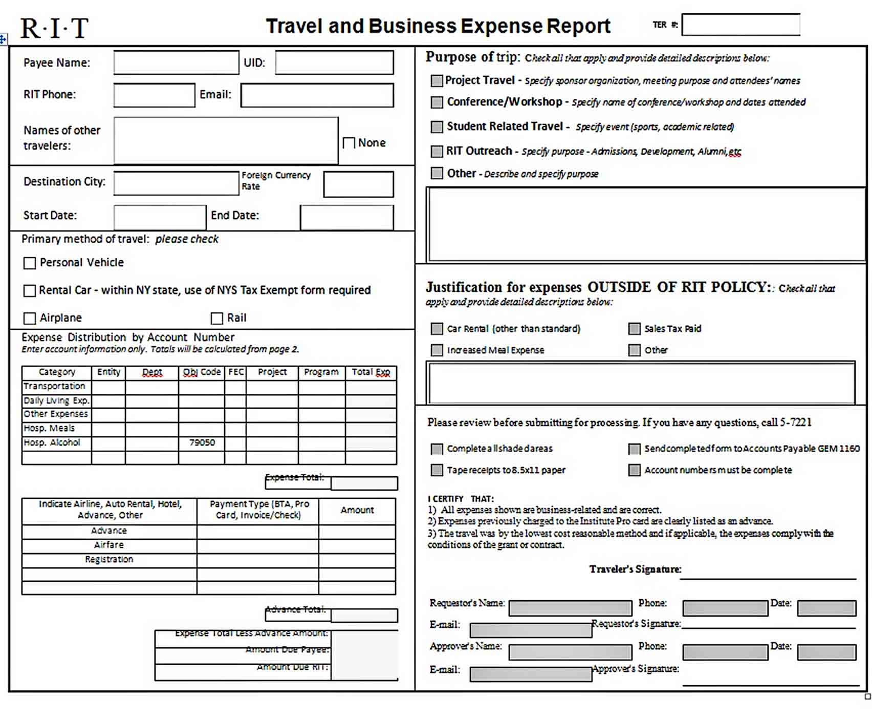 Templates Business Expense Report a