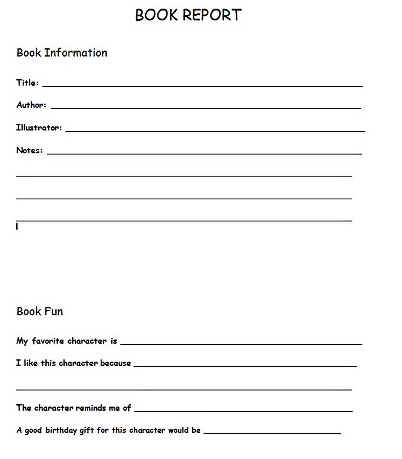 Templates Character Book Report