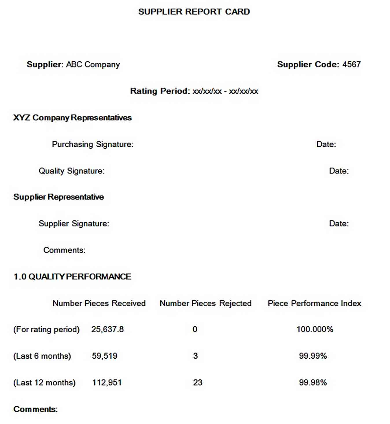 Templates Company Supplier Report Card Word Format Download