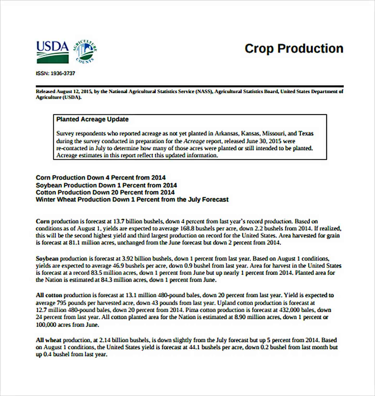 Templates Crop Production Report Download
