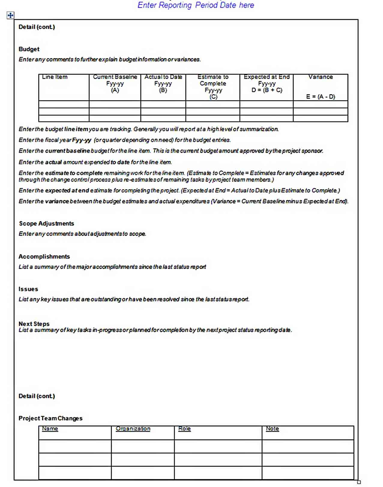 Templates Doc Format Project Status Report 1 1