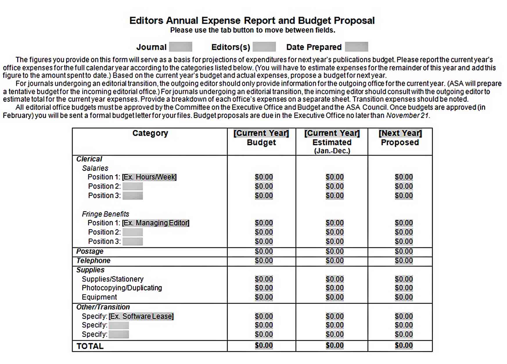 Templates Editors Annual Expense Report