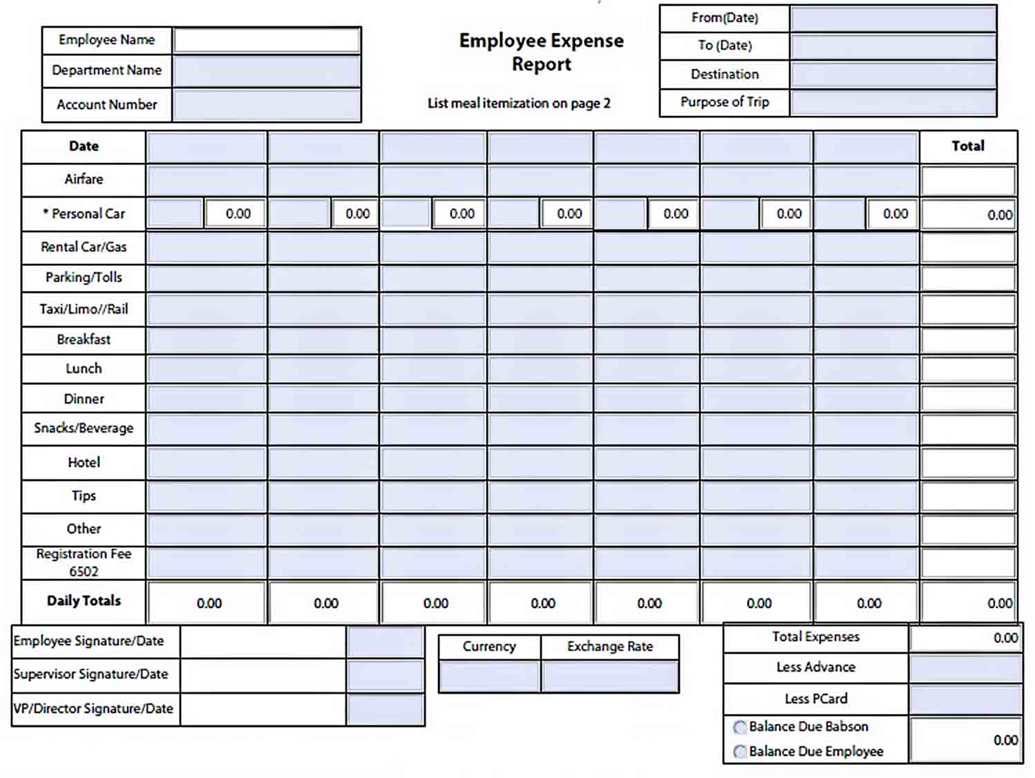 Templates Employee Expense Report