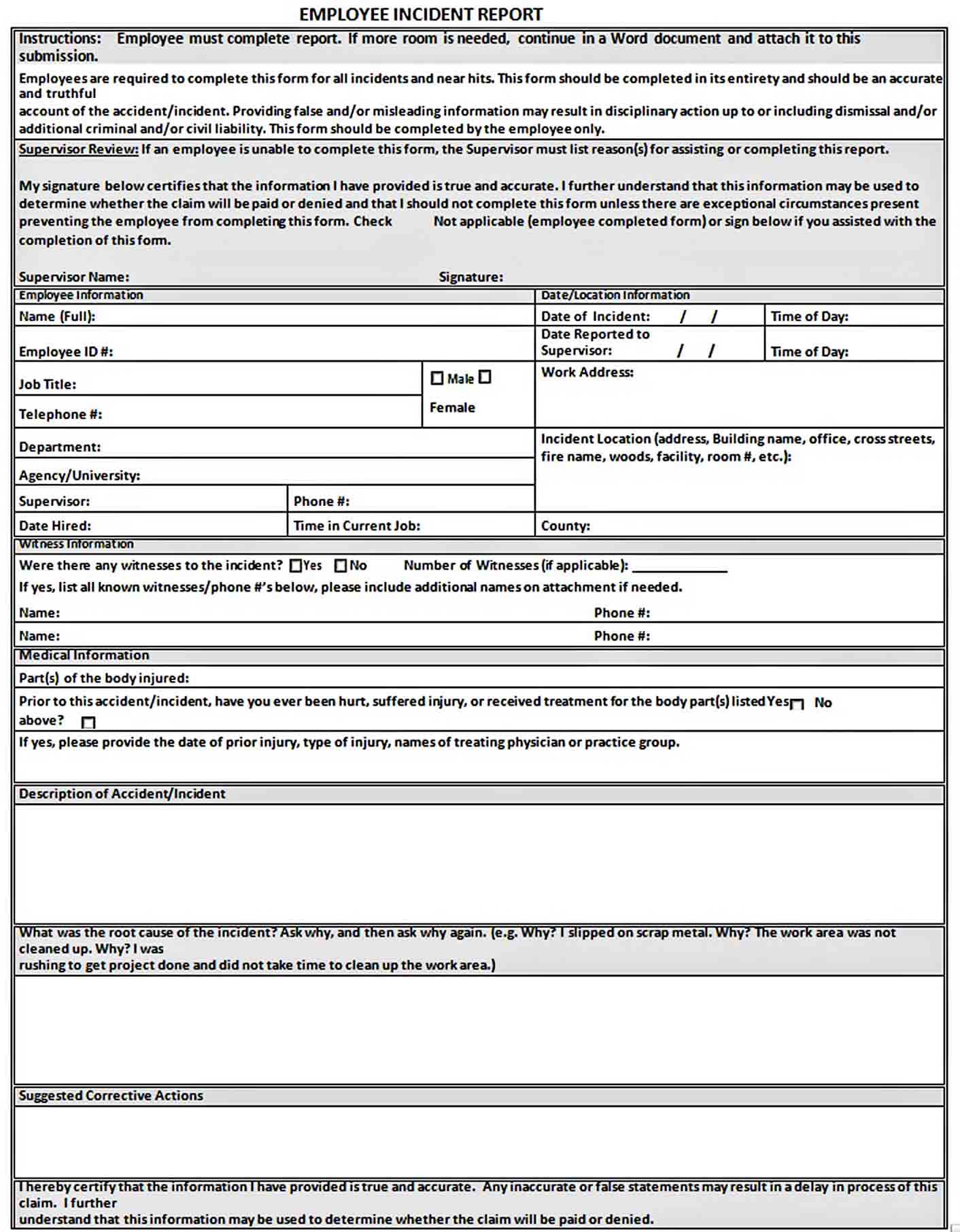 Templates Employee Incident Report in