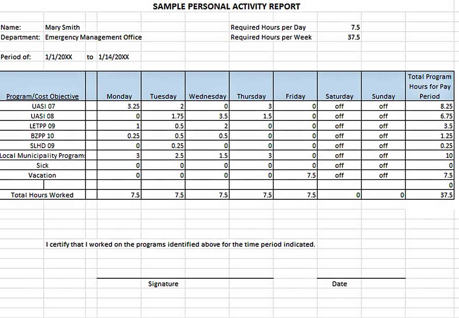 Templates Example Sample Personal Activity Report