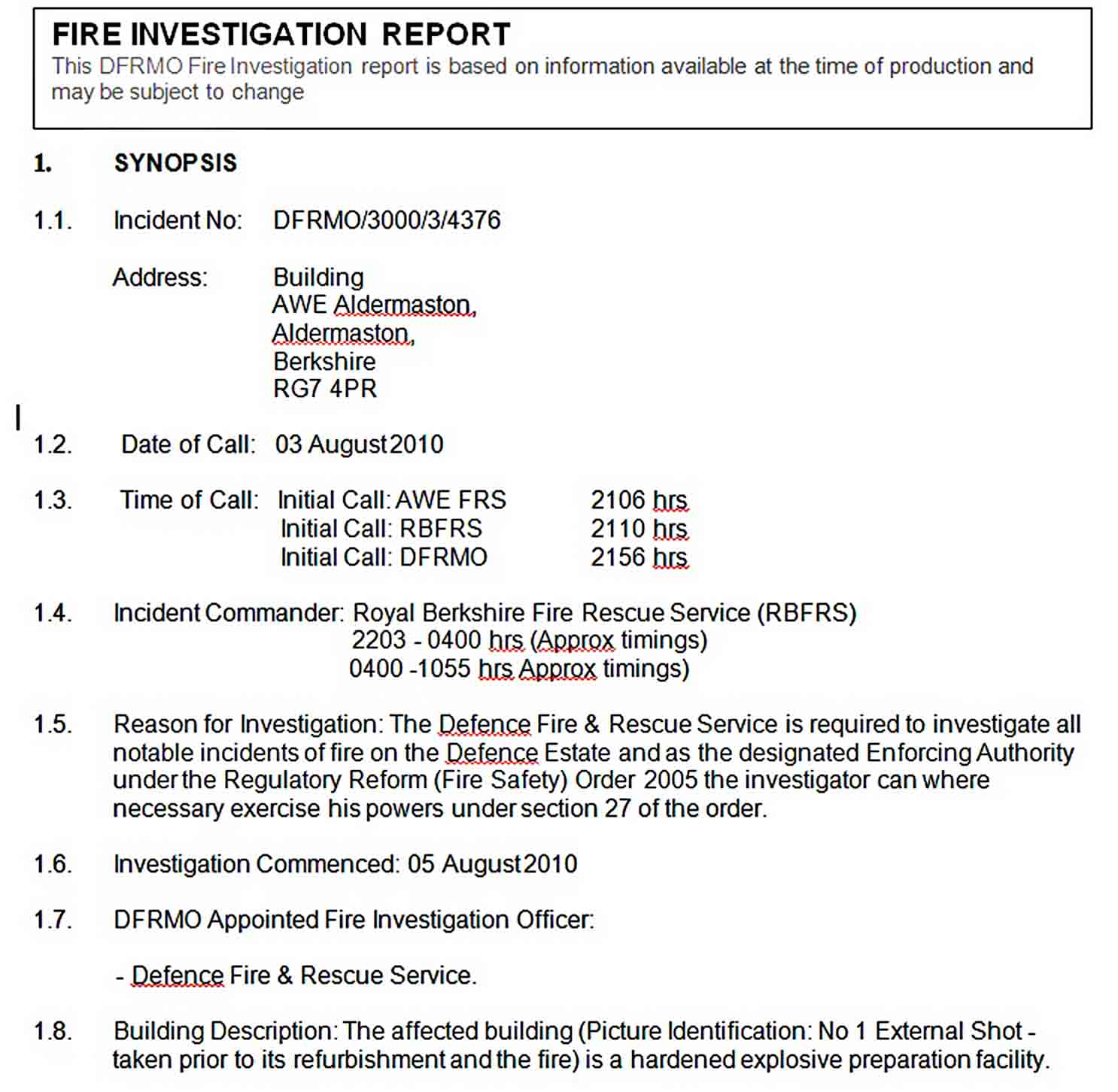 Templates Fire Investigation Report 1 1
