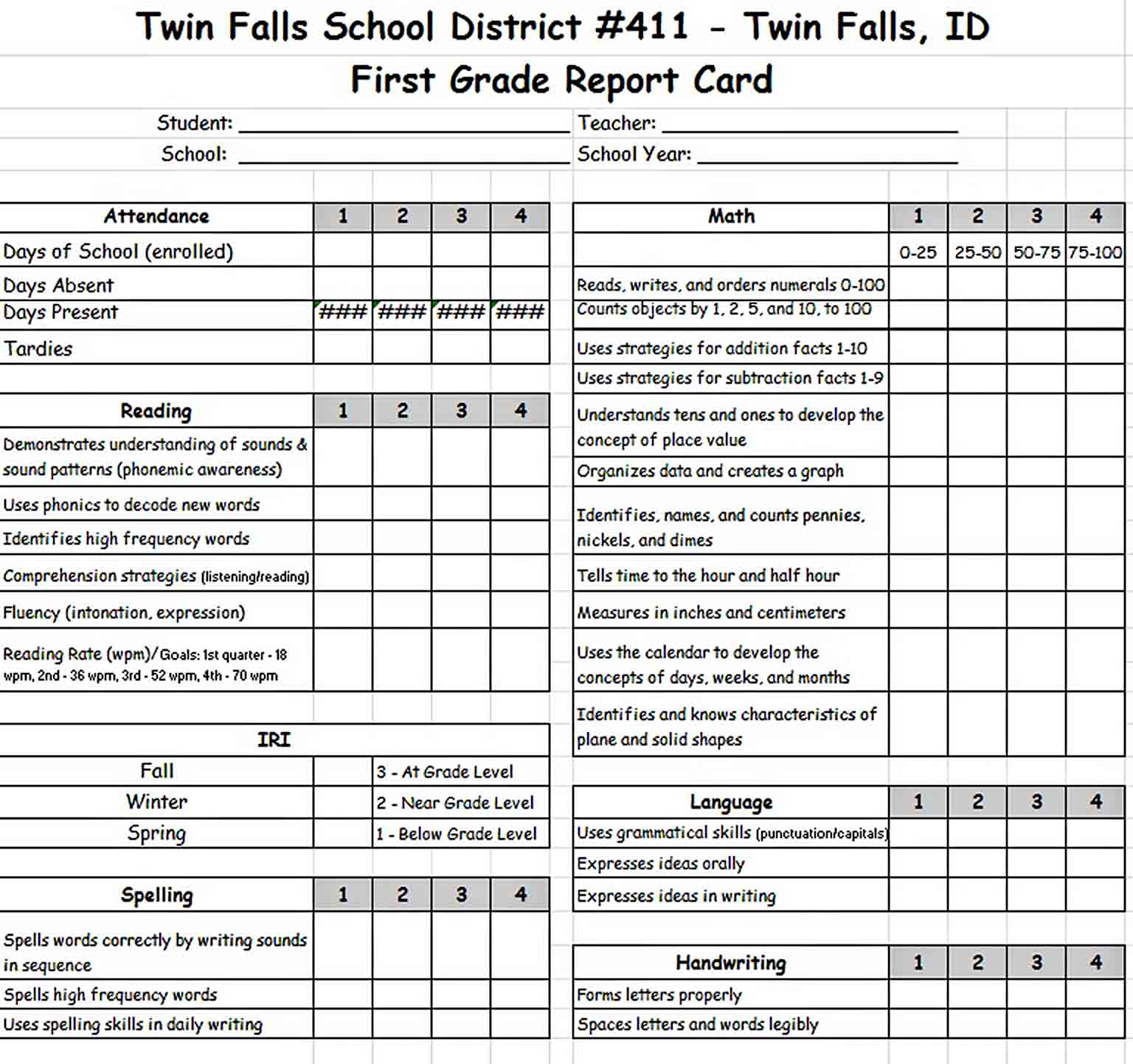 Templates First Grade Report Card Excel Format for Free